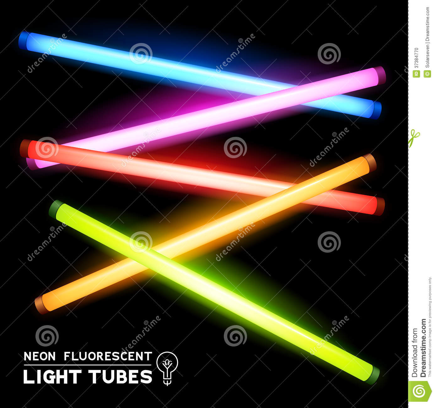 Fluorescent Light Glowing Red: Neon Tubes Soft Background Texture Stock Photo