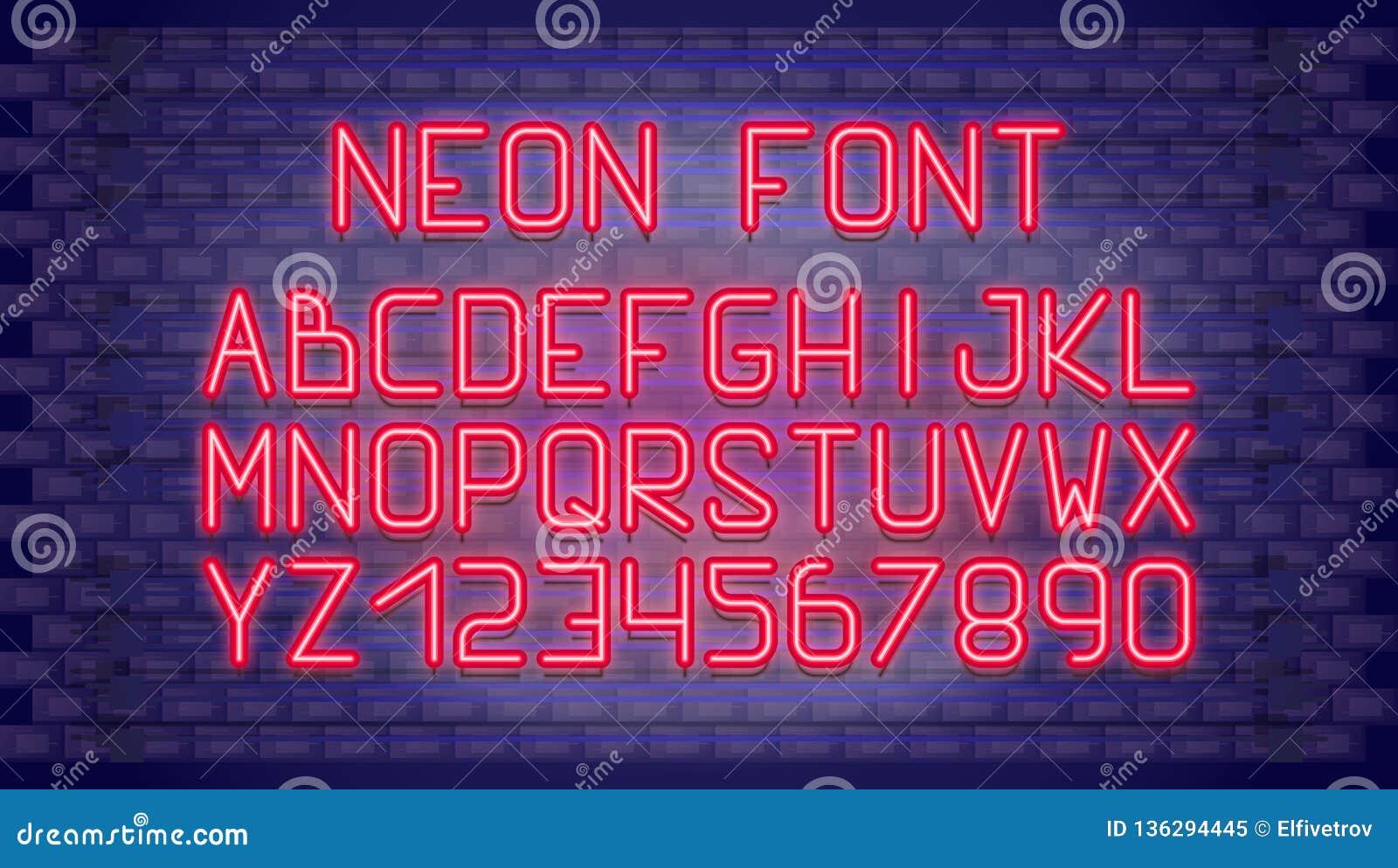 Neon Font stock vector  Illustration of decoration, headline - 136294445