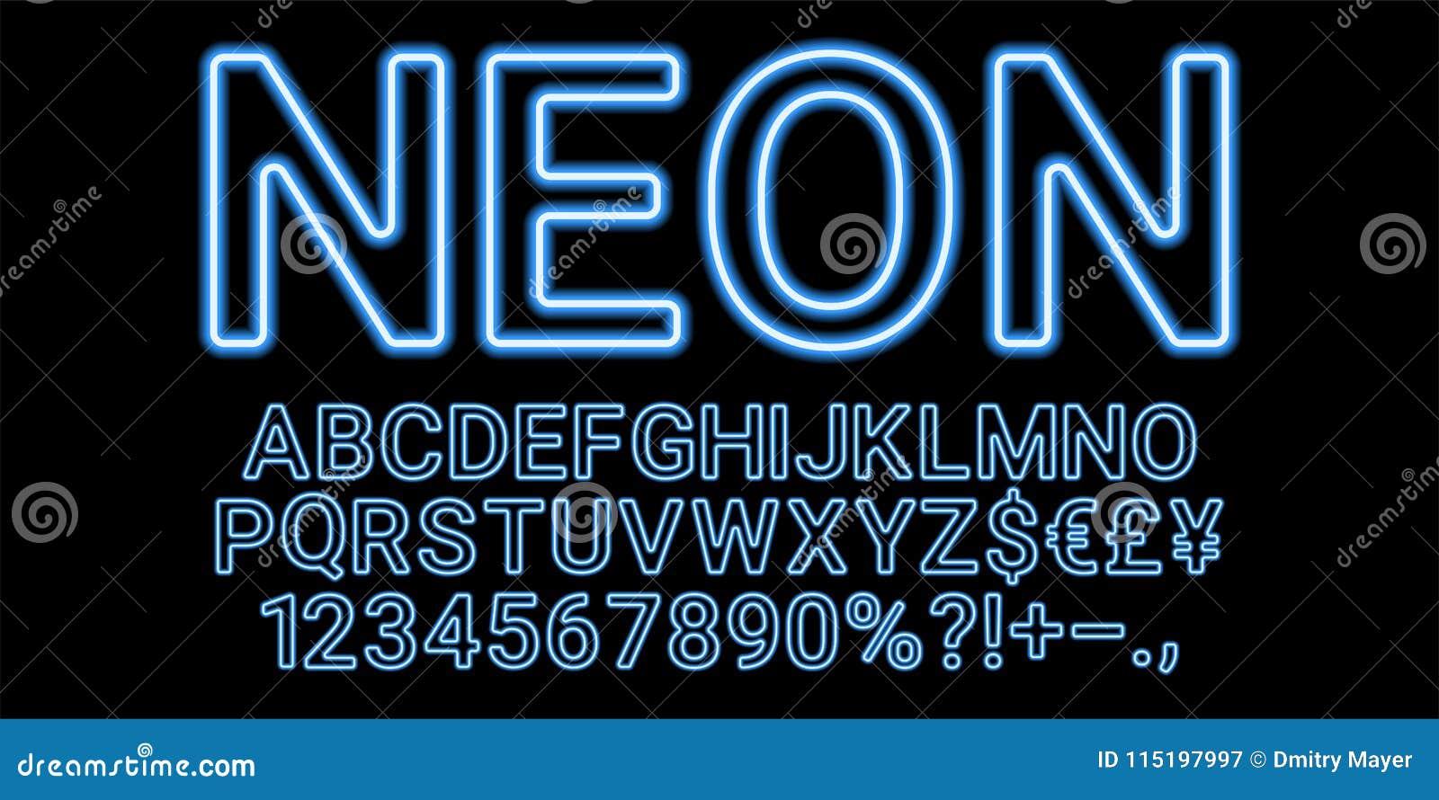 neon font in light blue color