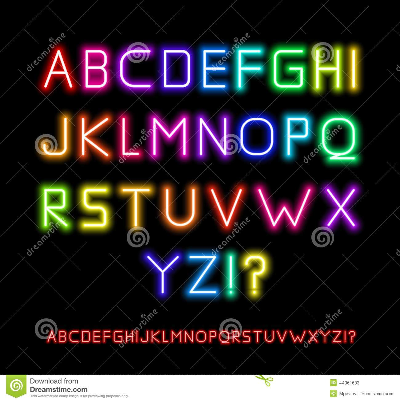 Neon Font Stock Vector. Image Of Capital, Design, Latin