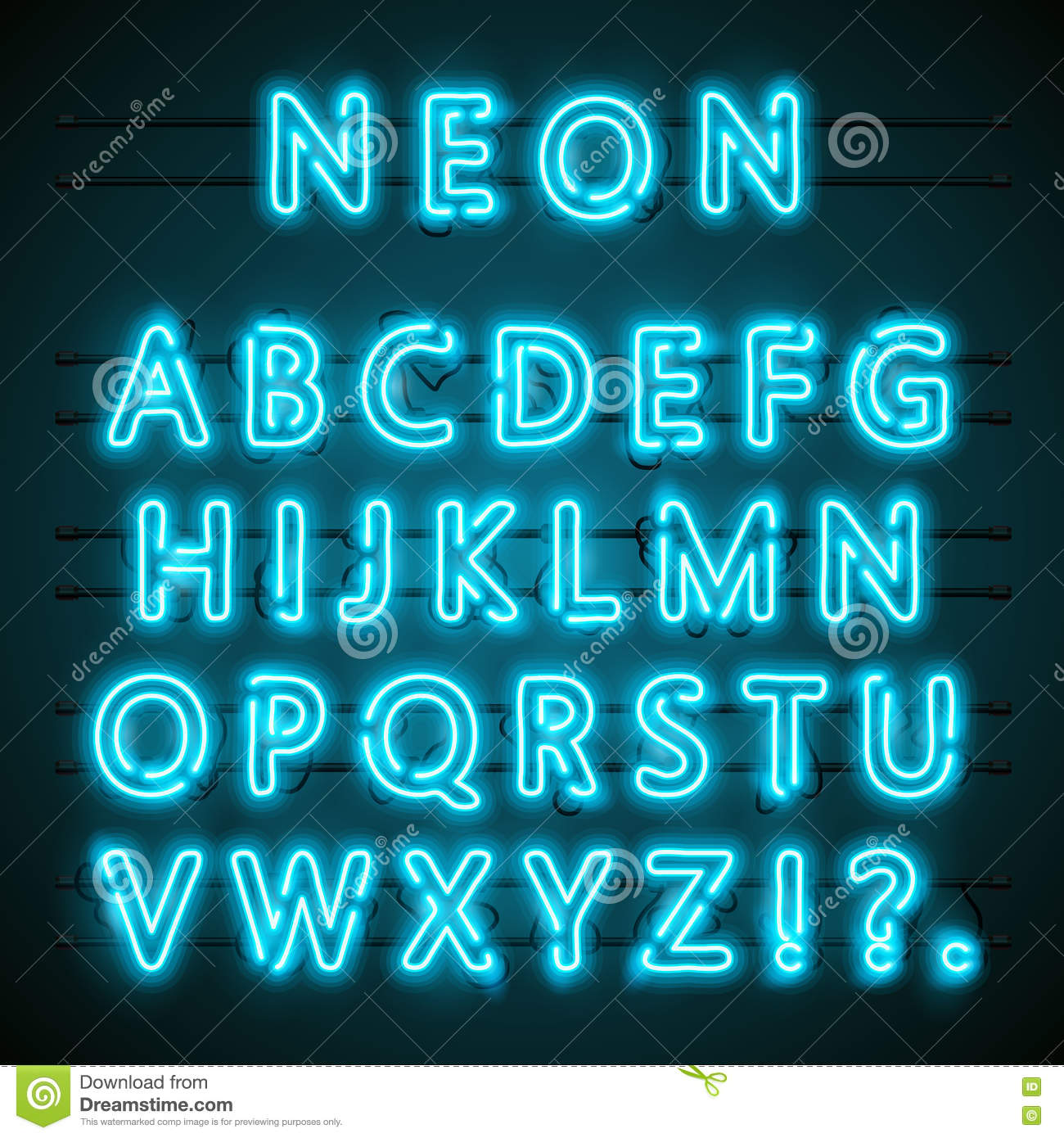Blue Neon Versus Logo Vs Letters For Sports And Fight ...
