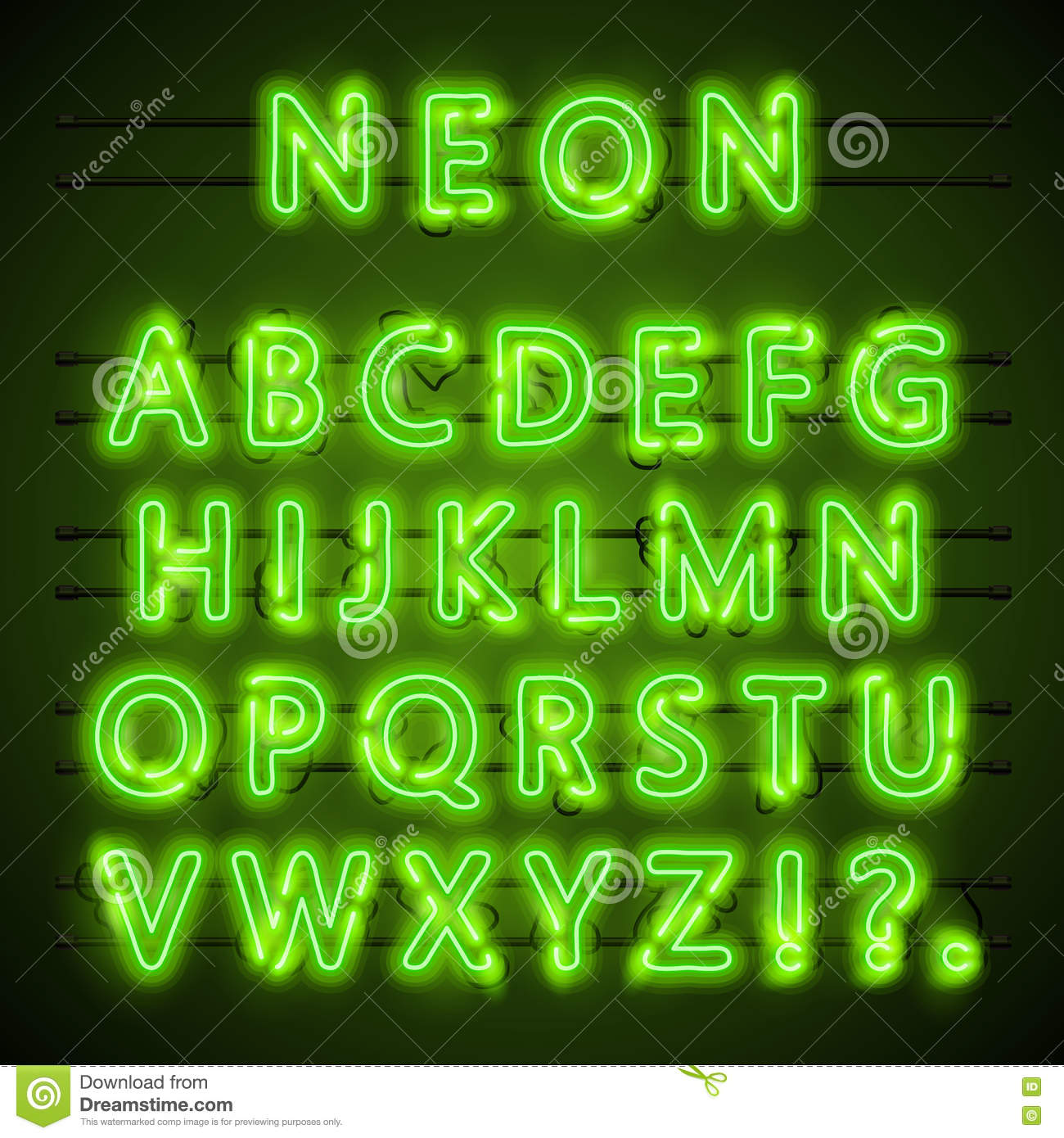 neon font text  green eps  lamp   alphabet   vector