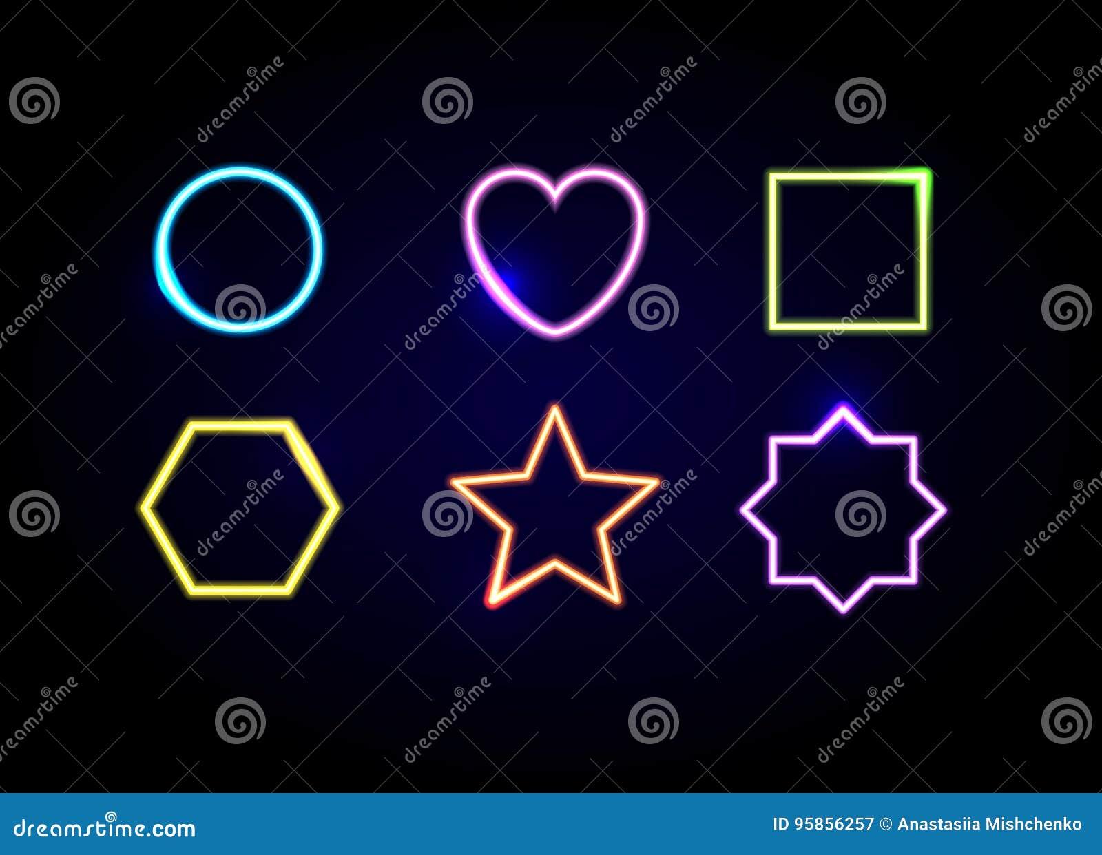 Neon formt Rahmen Glühende Kreis-, Herz-, Quadrat-, Hexagon-, Stern- und Polygonsymbole