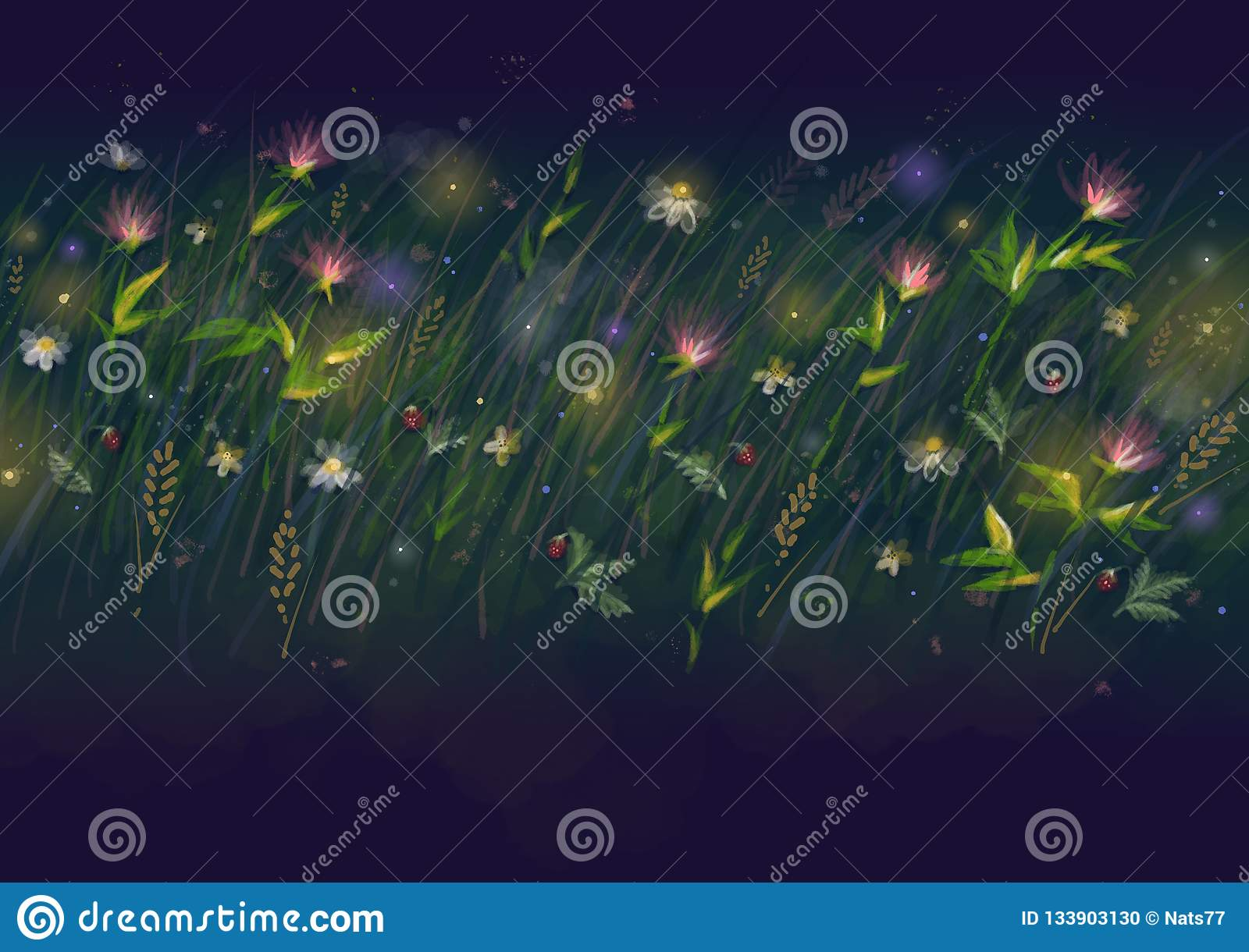 Neon garden leaf digital illustration. Green and cyan floral abstraction. Summer flowerbed banner template. Bright