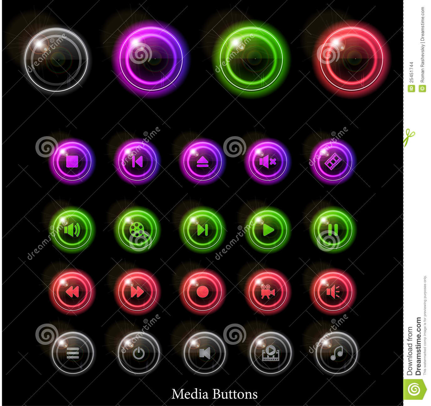 Neon glossy web buttons