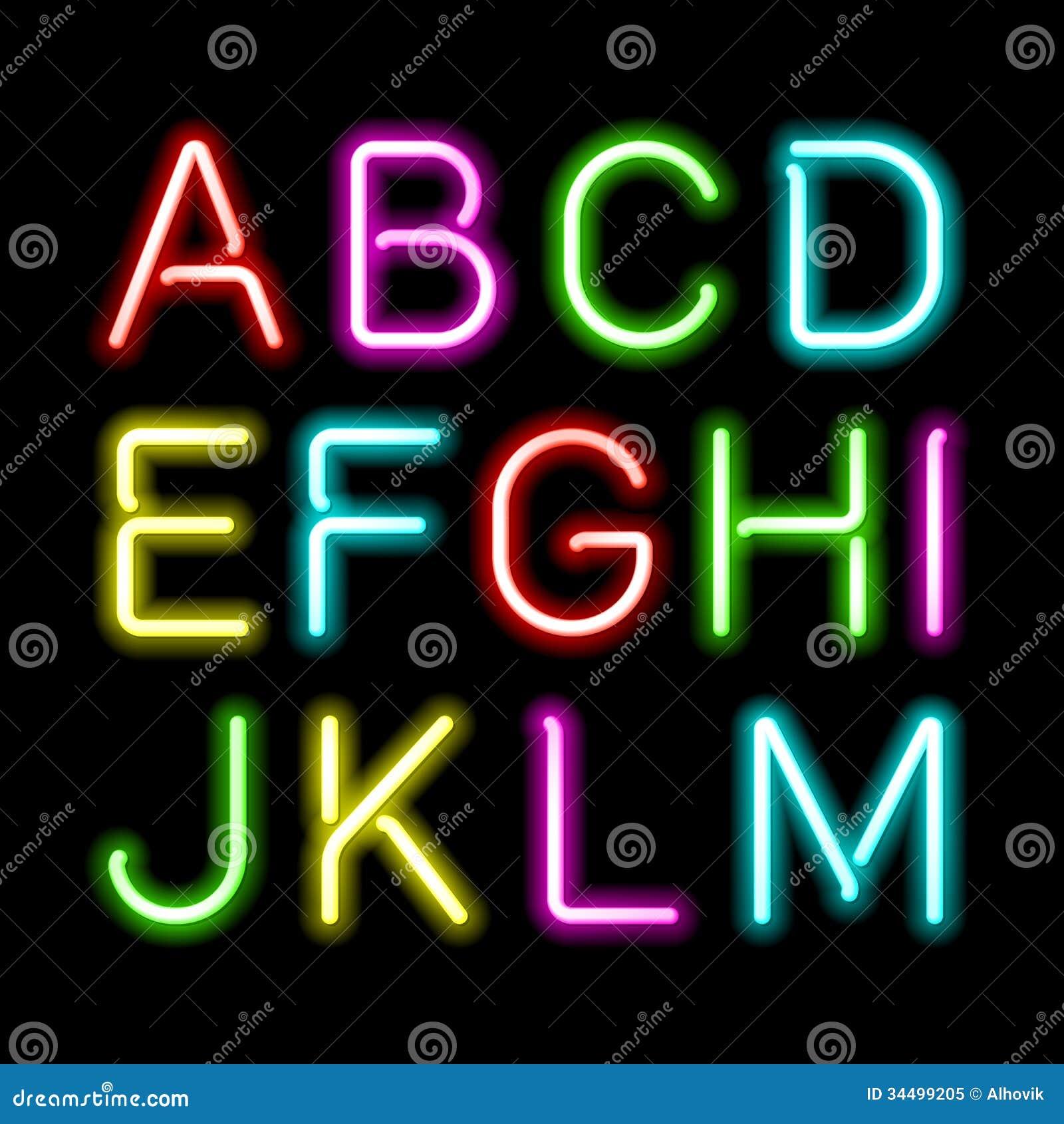 Neon Glow Alphabet Royalty Free Stock Photo Image 34499205