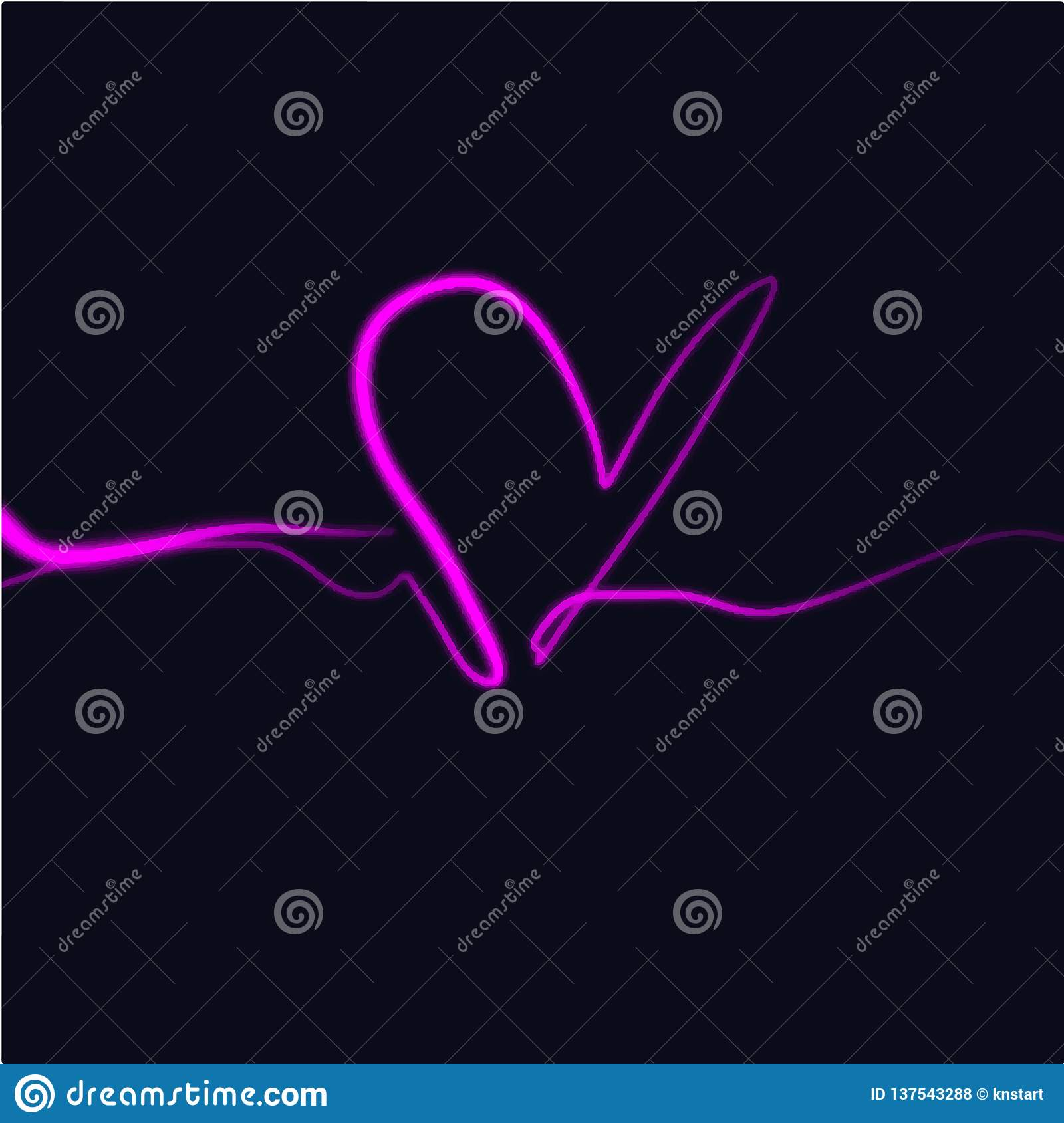 Neon Glowing Bright Pink Heart Sign, Isolated Clipart ...