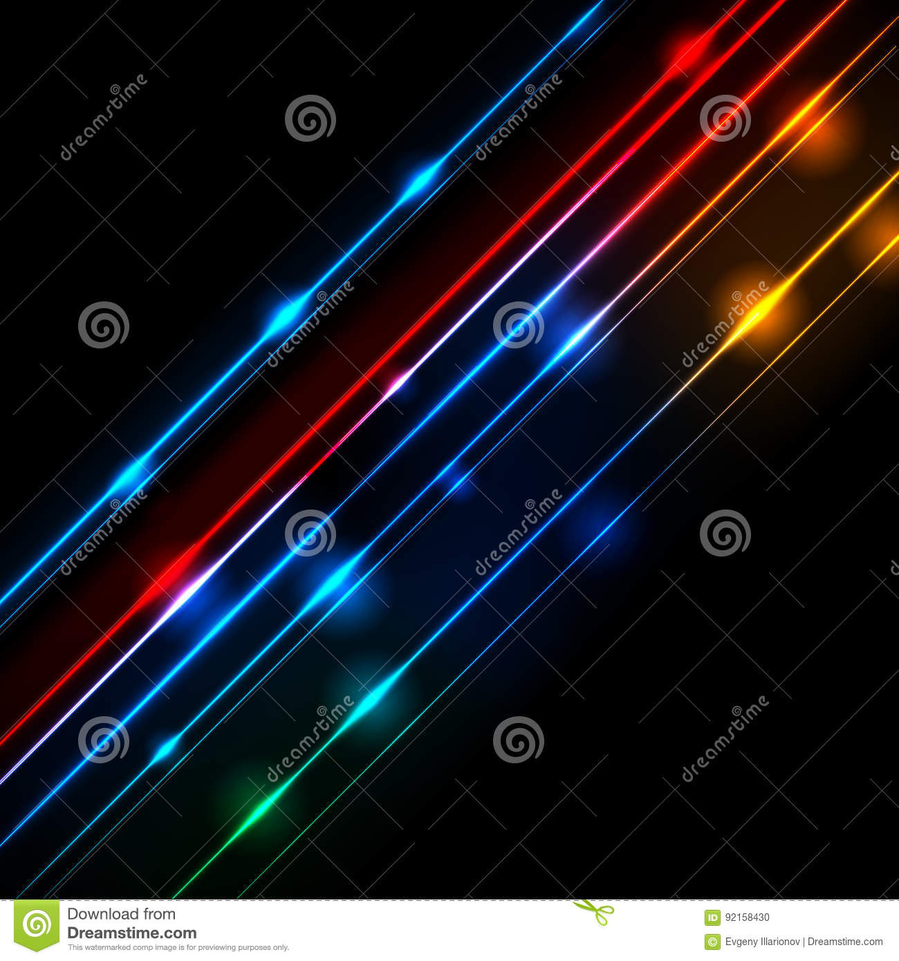 Neon glowing lines abstract vector background
