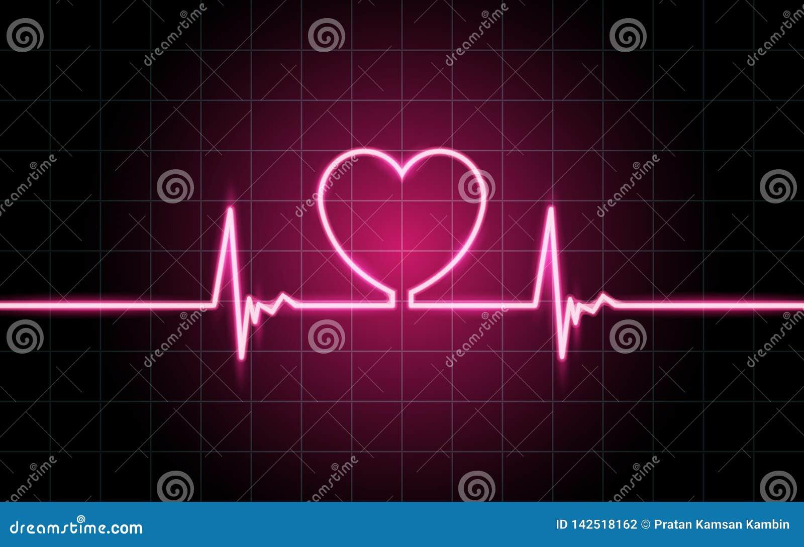 neon glowing lines heartbeat concept lifeline background wallpaper design 142518162