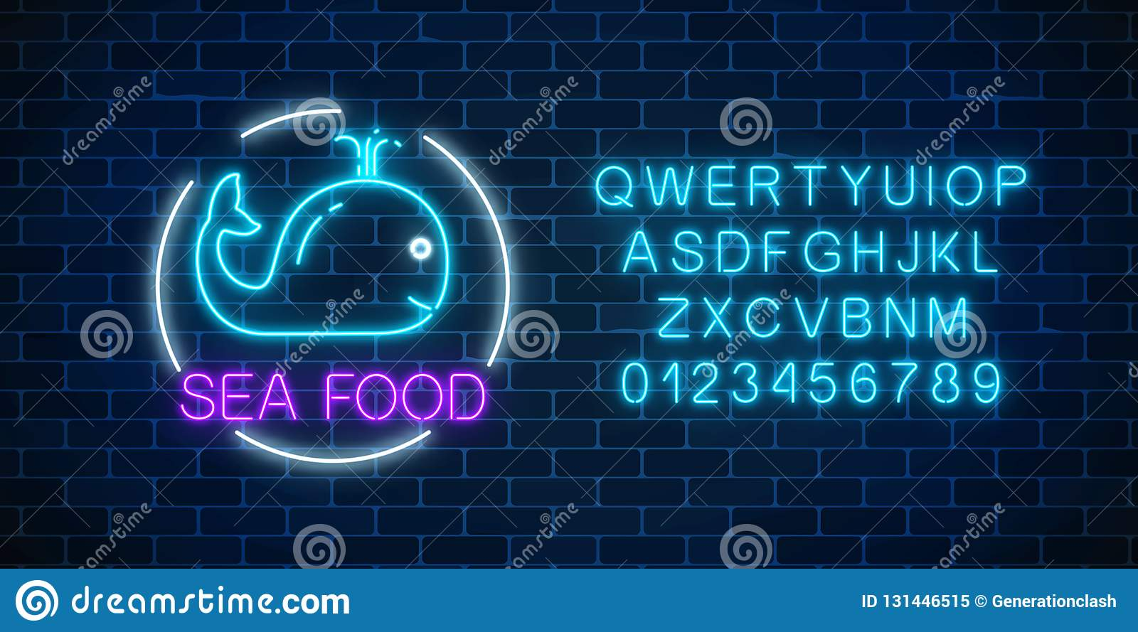 Neon Glowing Sign Of Sea Food With Blue Whale In Circle
