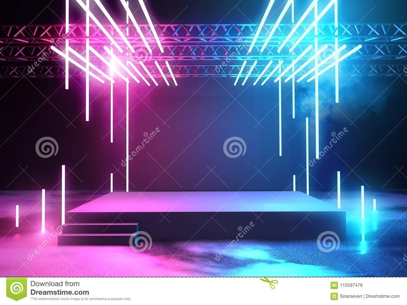 Neon Glowing Stage And Lighting Stock Illustration