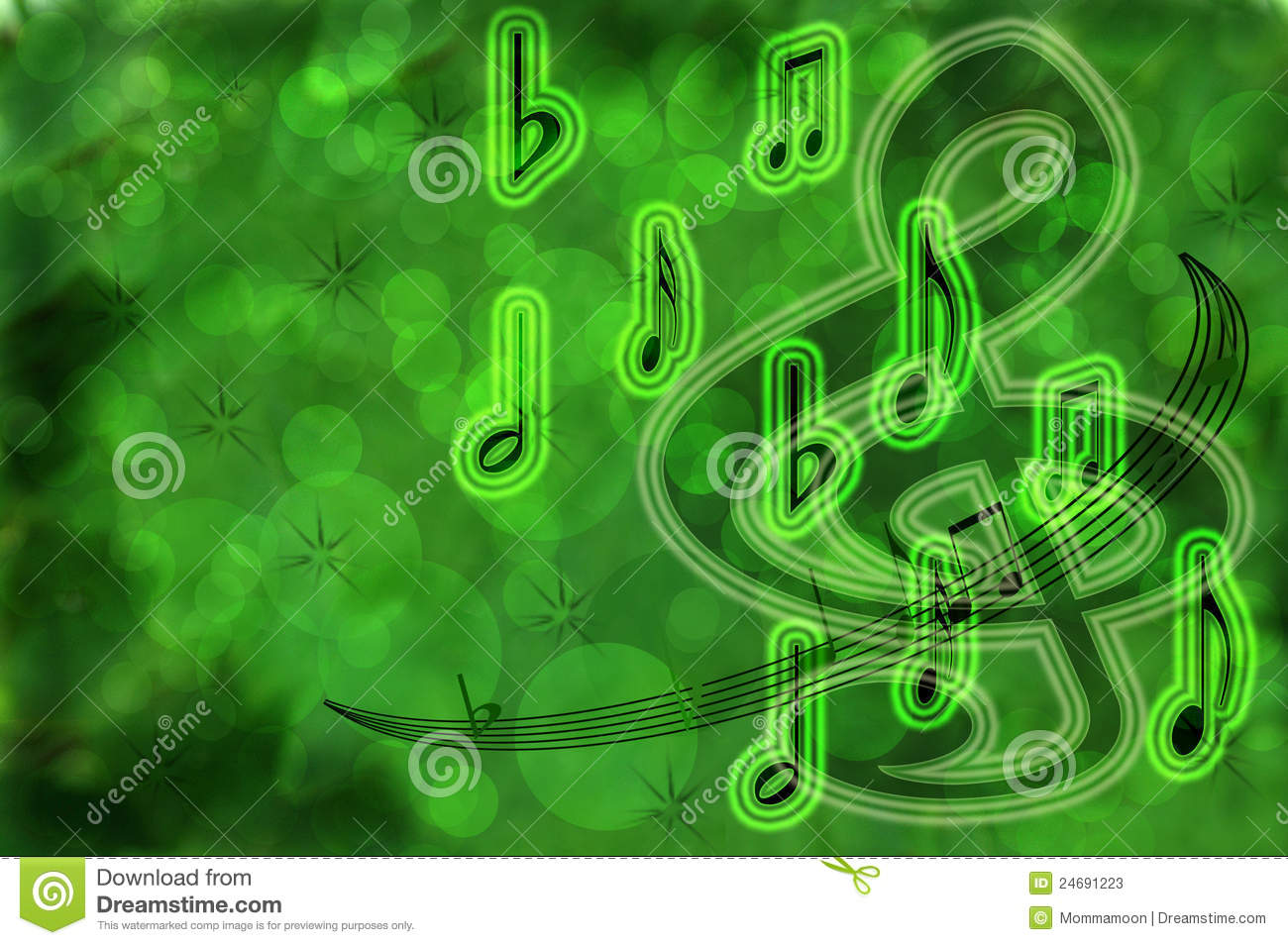 Neon Music Notes Wallpaper: Neon Green Musical Background Stock Photos