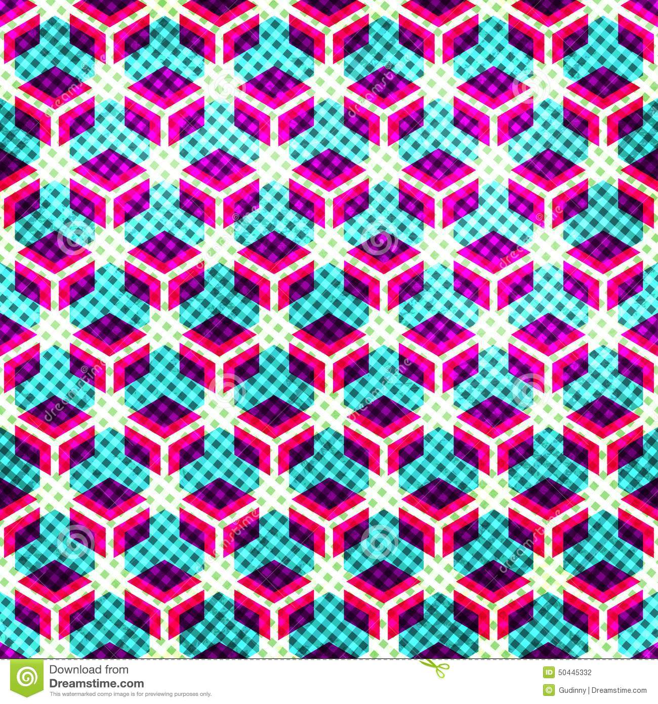Neon Grid Seamless Pattern With Grunge Effect Stock Vector