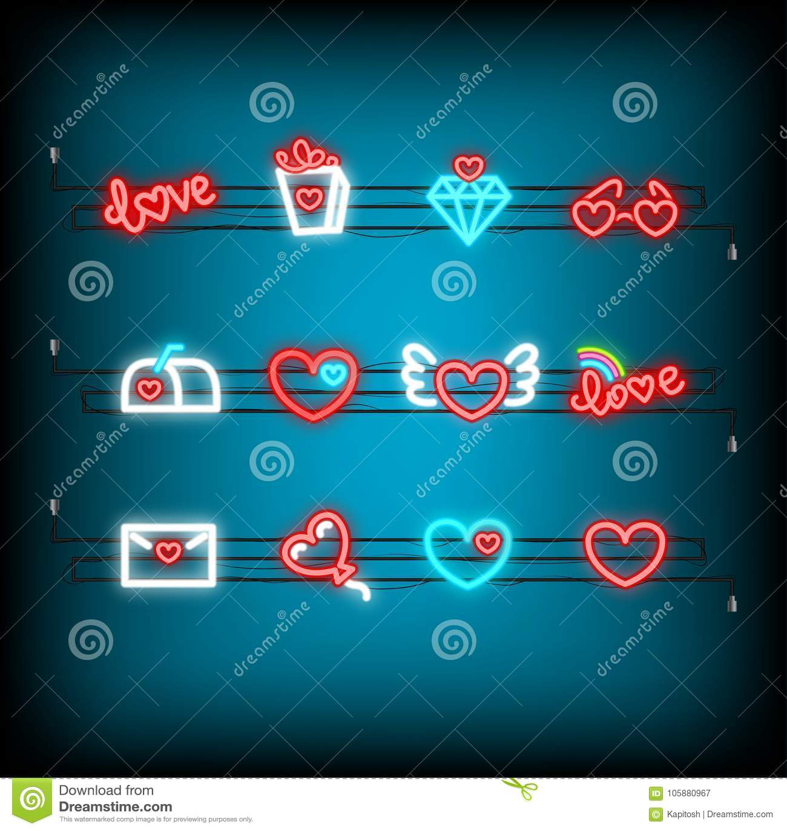 Neon Happy Valentines Day Set Icon Stock Vector Illustration Of