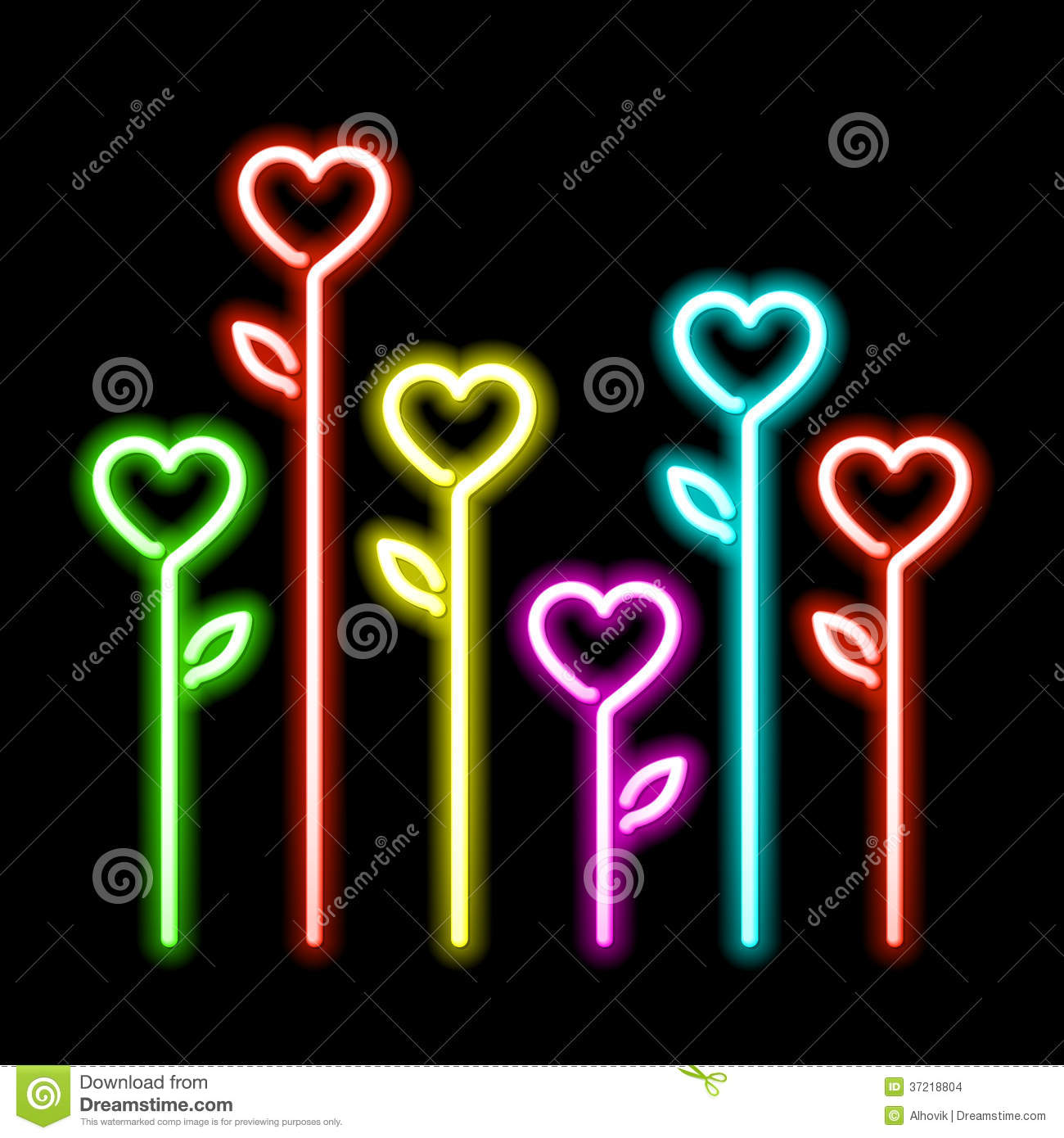 Neon hearts flowers stock vector. Illustration of electric ... Laptop Vector Illustration