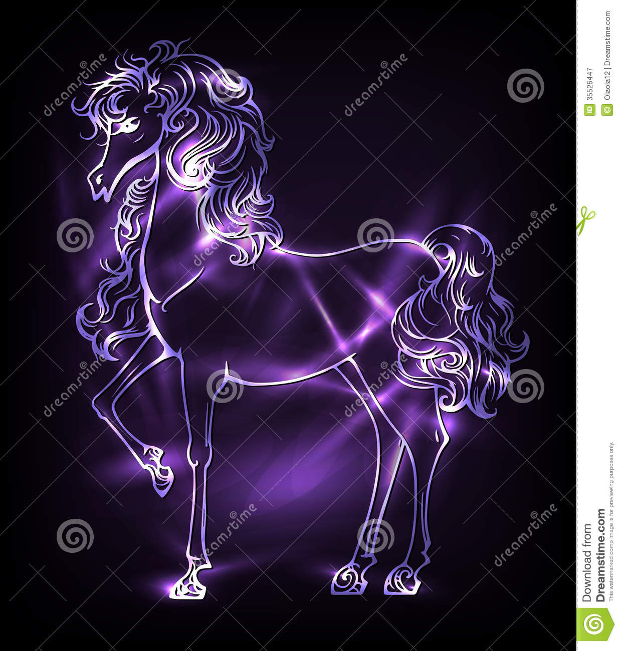 Neon Horse Royalty Free Stock Photography - Image: 35526447