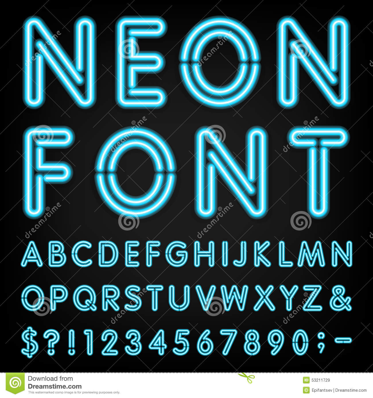 Vector Text Generator : Neon light alphabet vector font stock image