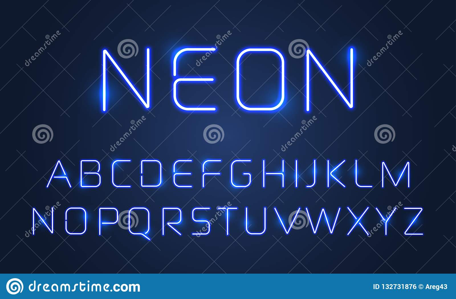 Neon light font alphabet letters set. Vector blue ultraviolet neon alphabet font lamps effect