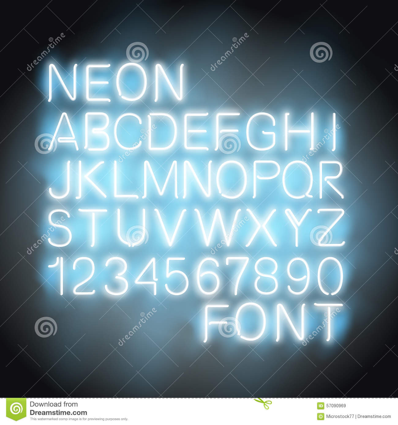 Neon Light Font Stock Vector Illustration Of Black Illuminated