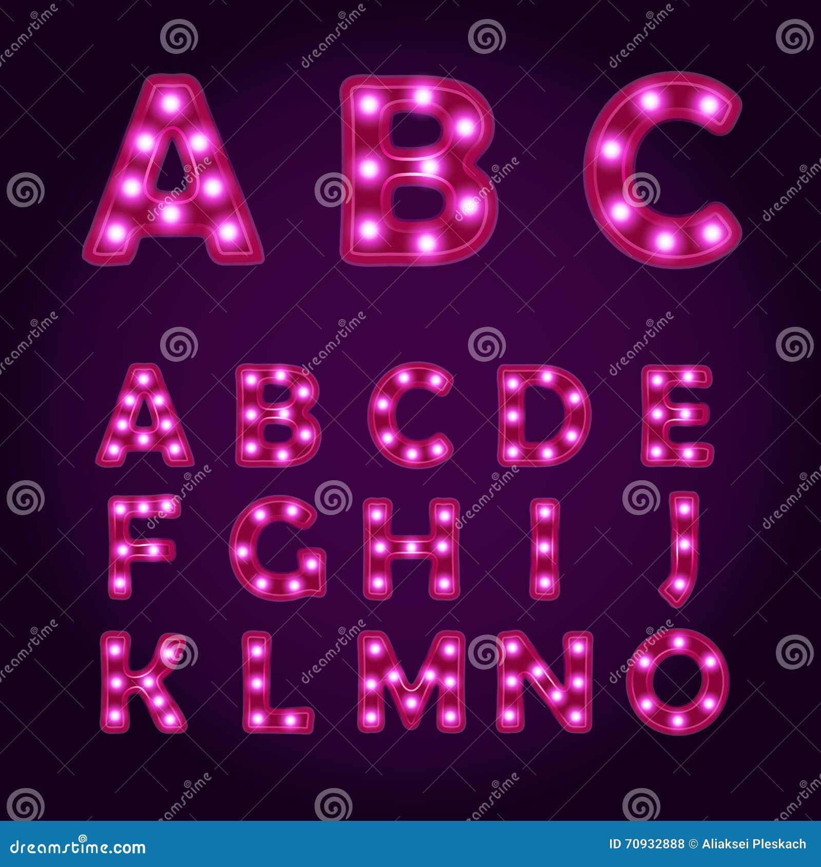 Fluorescent Letters Alphabet