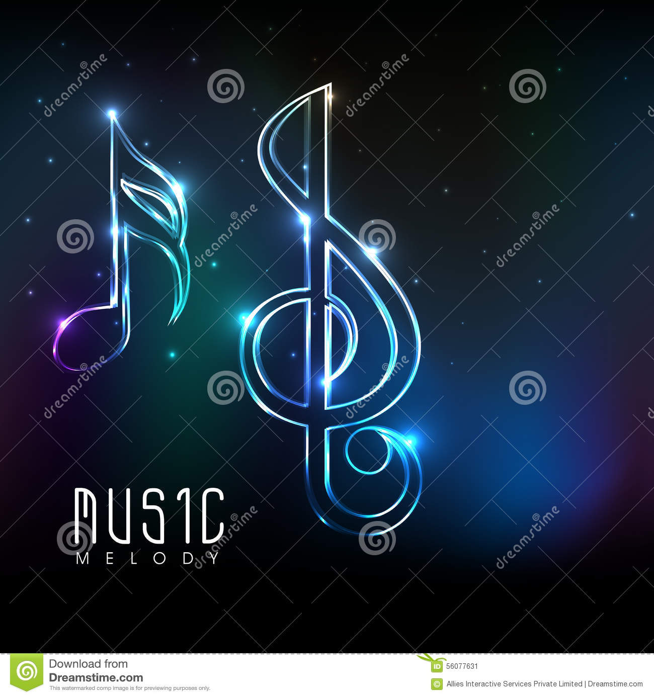 neon light made shiny musical notes stock illustration