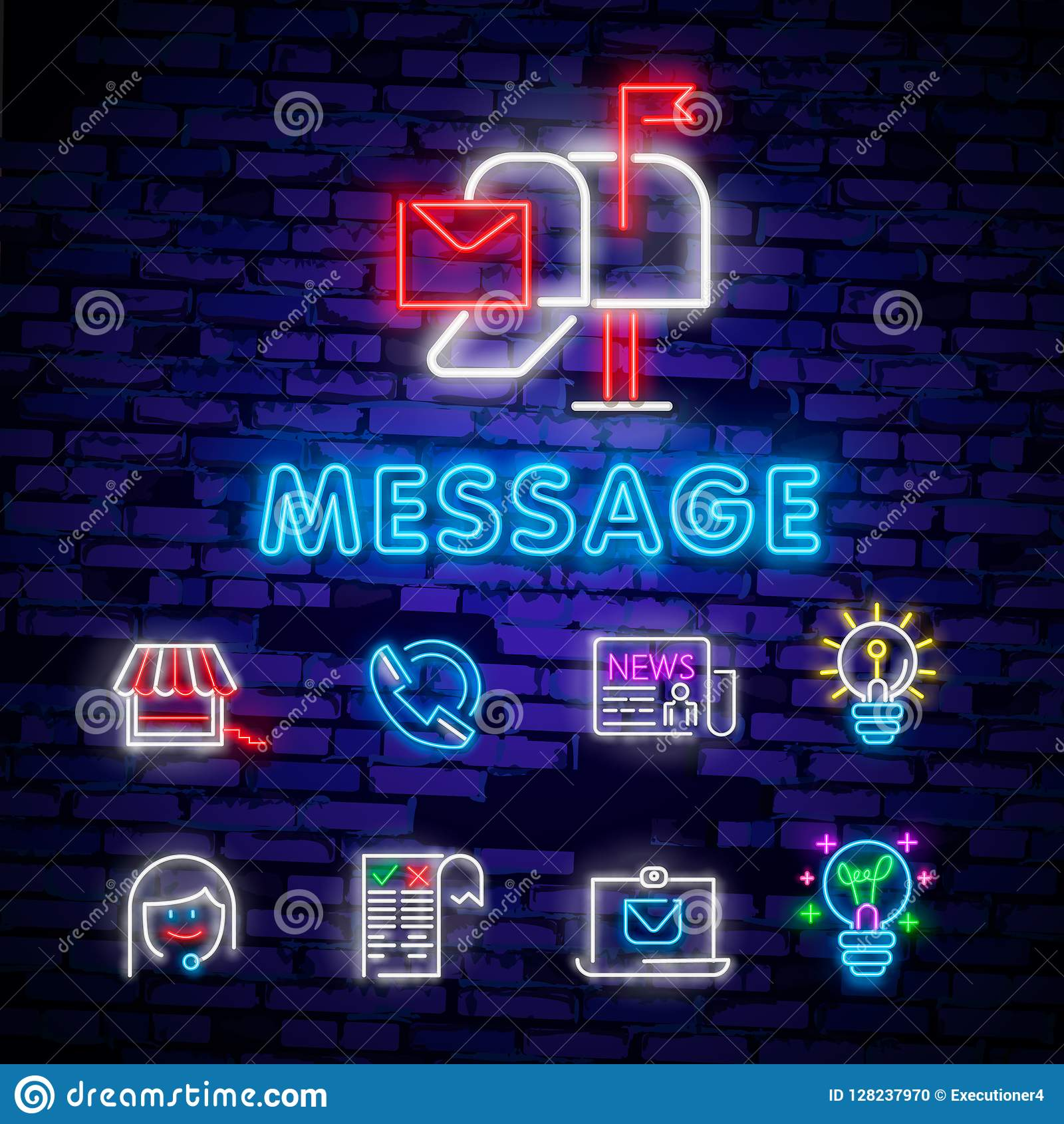 Neon Light  Mail Delivery Icon  Envelope Symbol  Message
