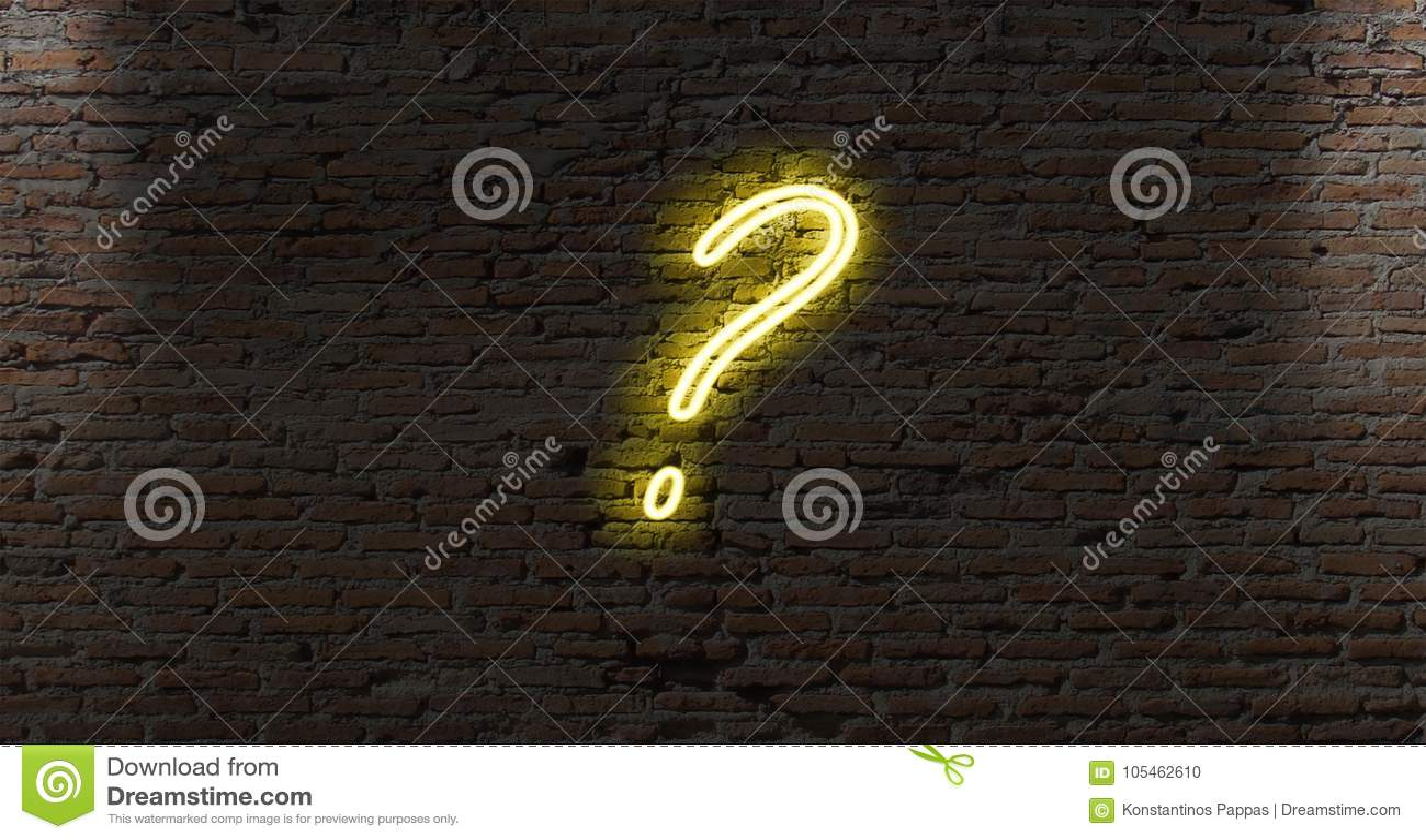 neon light question marks on a dark brick wall