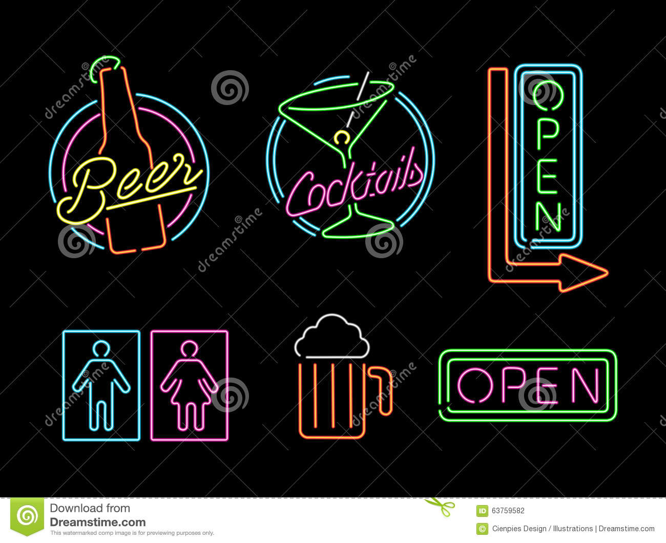 Neon light sign set icon retro bar beer open label stock vector neon light sign set icon retro bar beer open label stock vector illustration of colorful color 63759582 aloadofball Images