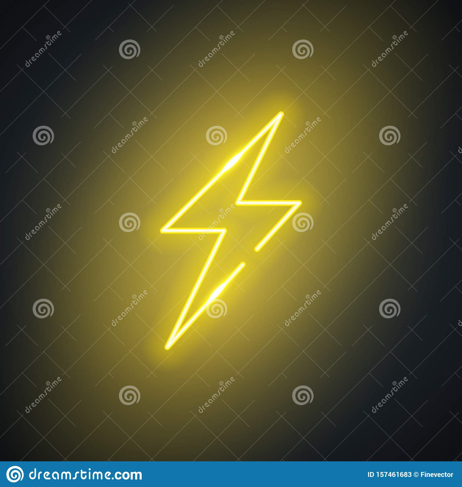 Neon Lightning Glowing Flash Sign On Black Background Colorful And Bright Retro Lightning Bolt Symbol Stock Vector Illustration Of Isolated Energy 157461683