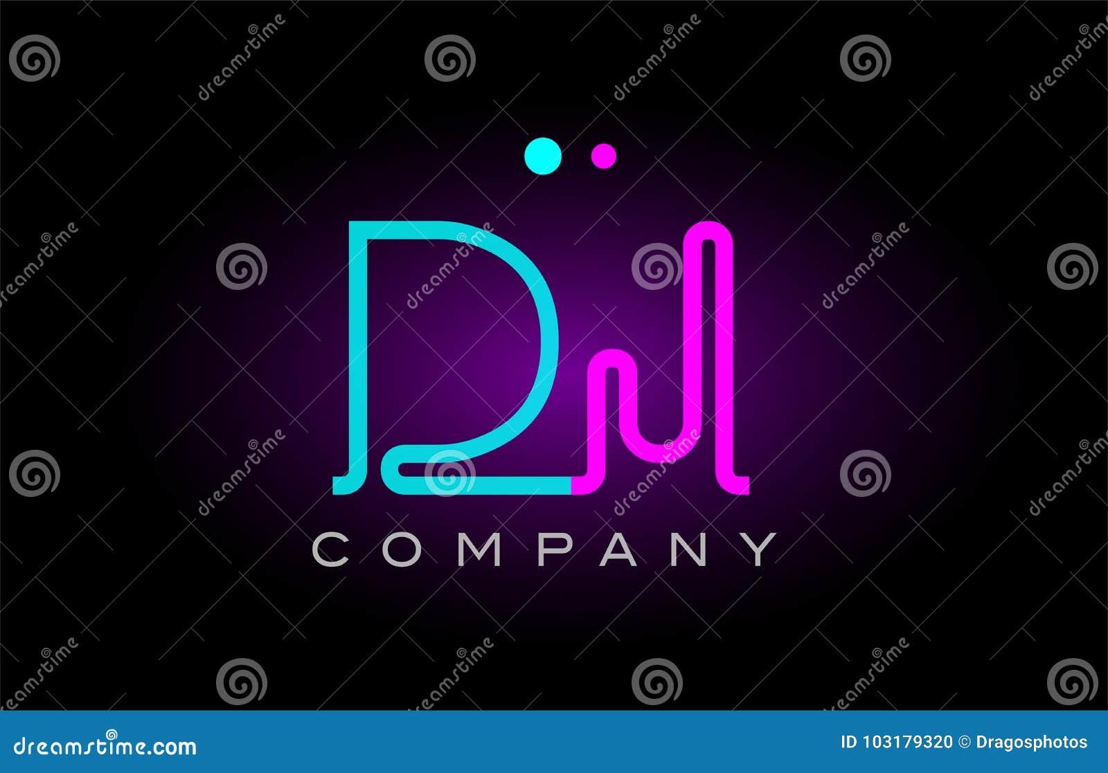 neon lights alphabet dj d j letter logo icon combination design
