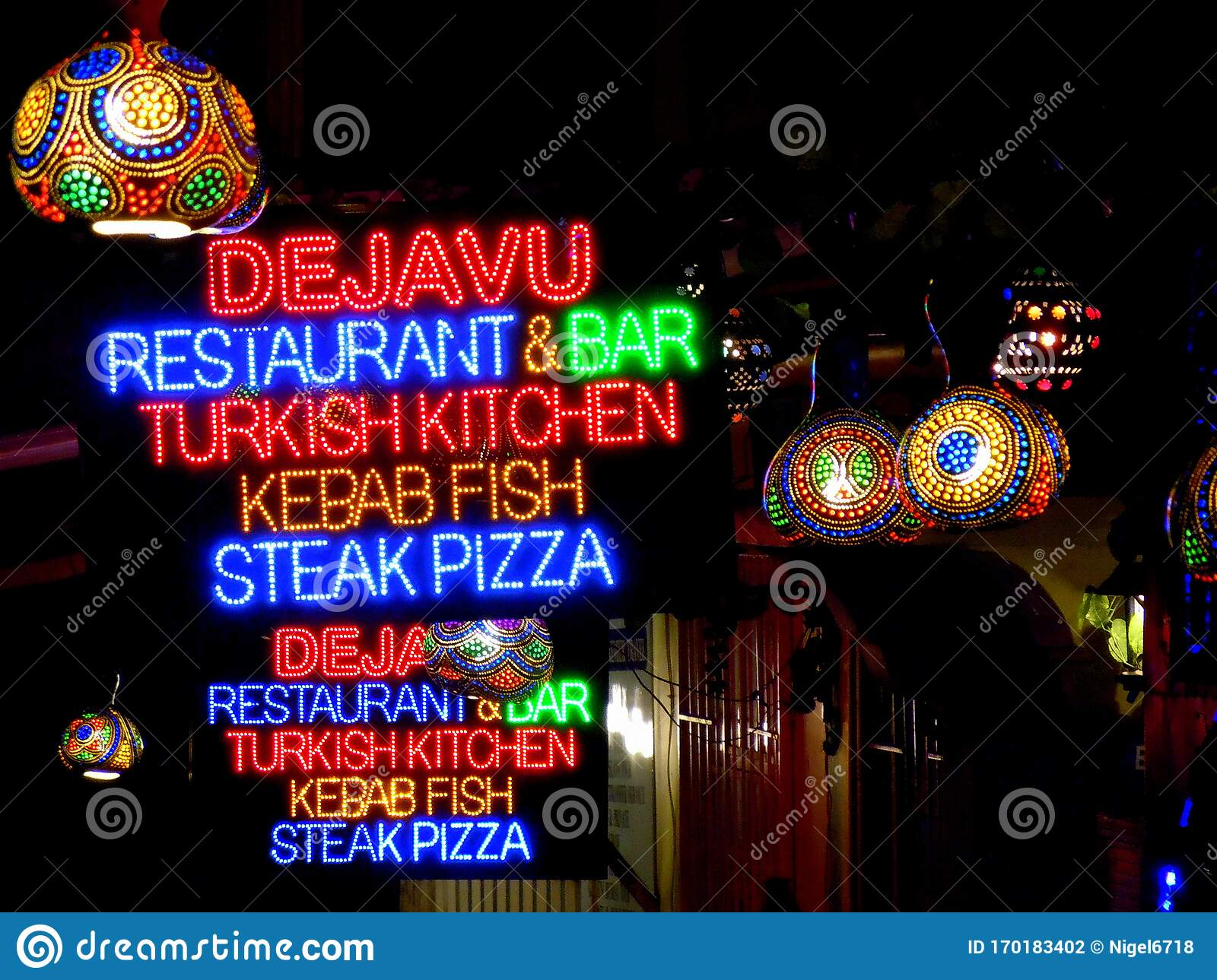 Neon Restaurant Street Signs At Night Editorial Photography Image Of Color City 170183402