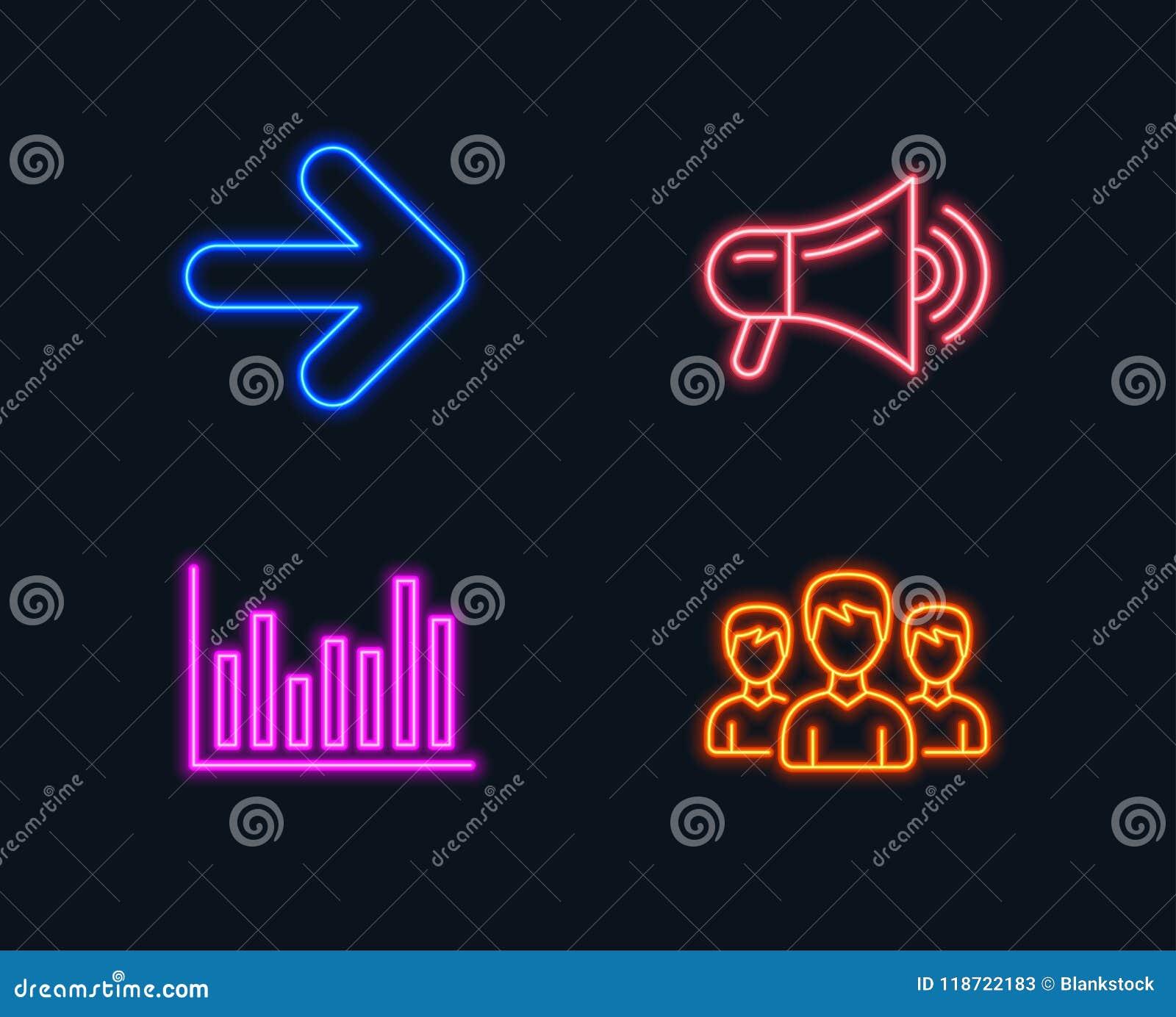 Next  Bar Diagram And Megaphone Icons  Group Sign  Forward