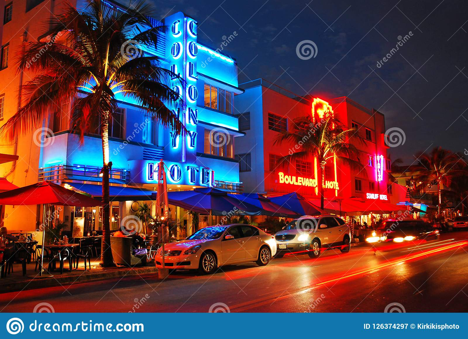 Neon Of South Beach Editorial Photography Image Of