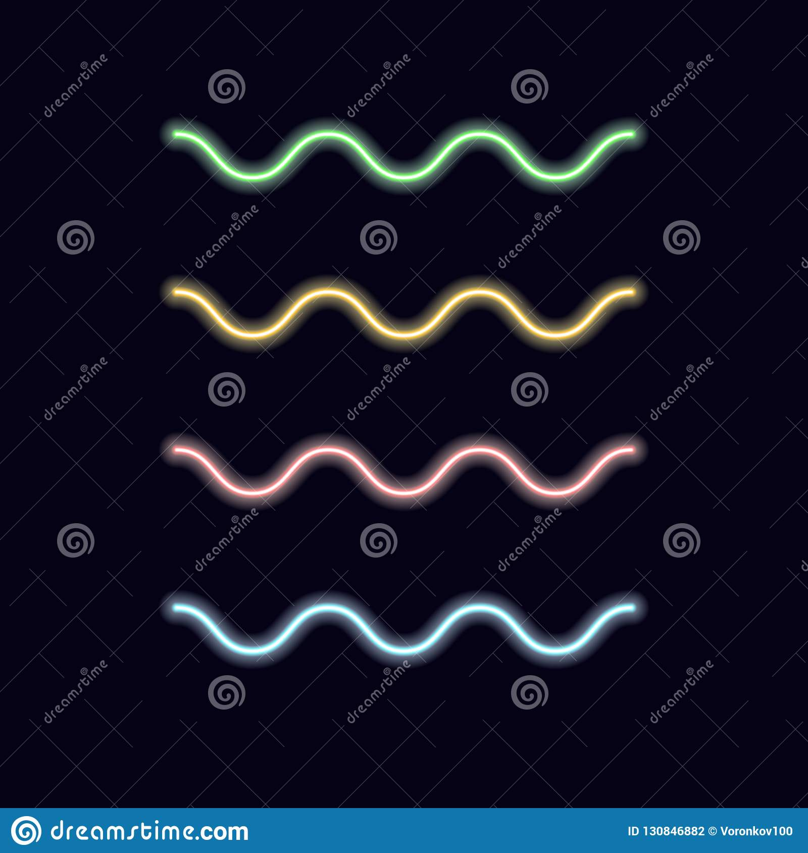 Neon linear waves. Vector serpentine lines decorative light design elements on isolated dark background.