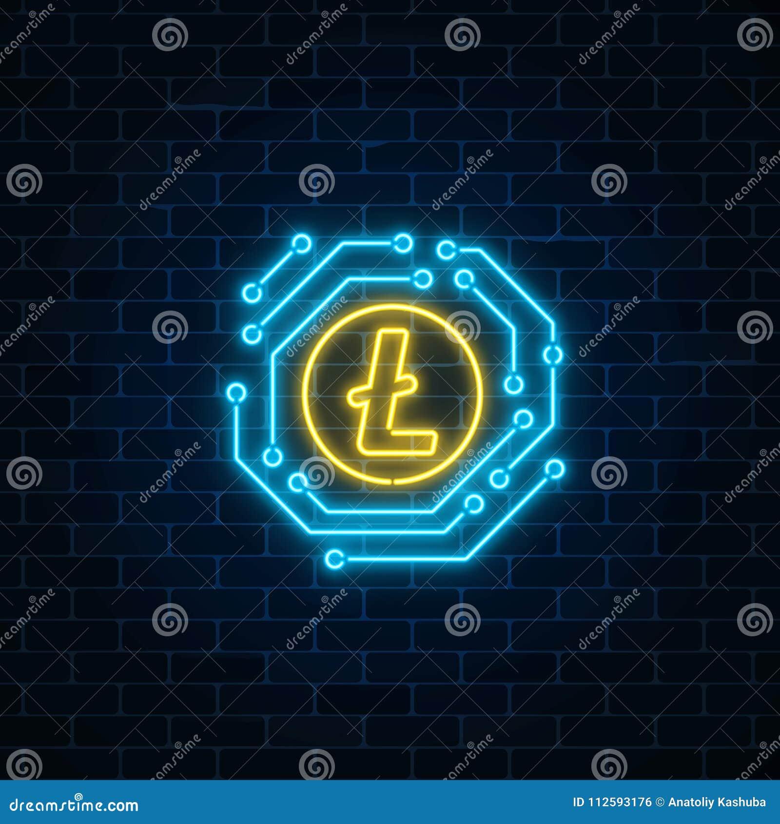 Neon-litecoin Währungszeichen Mit Elektronischer Schaltung ...