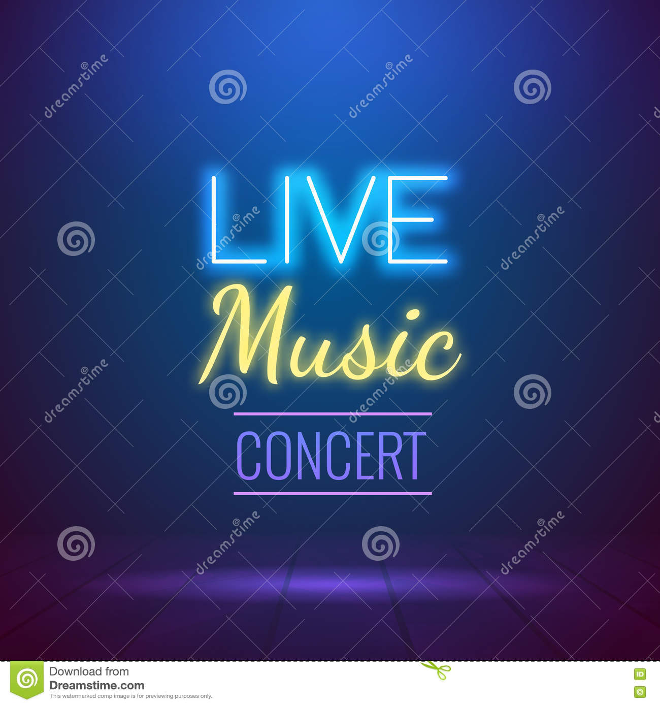 neon live music concert acoustic party poster background template, Modern powerpoint