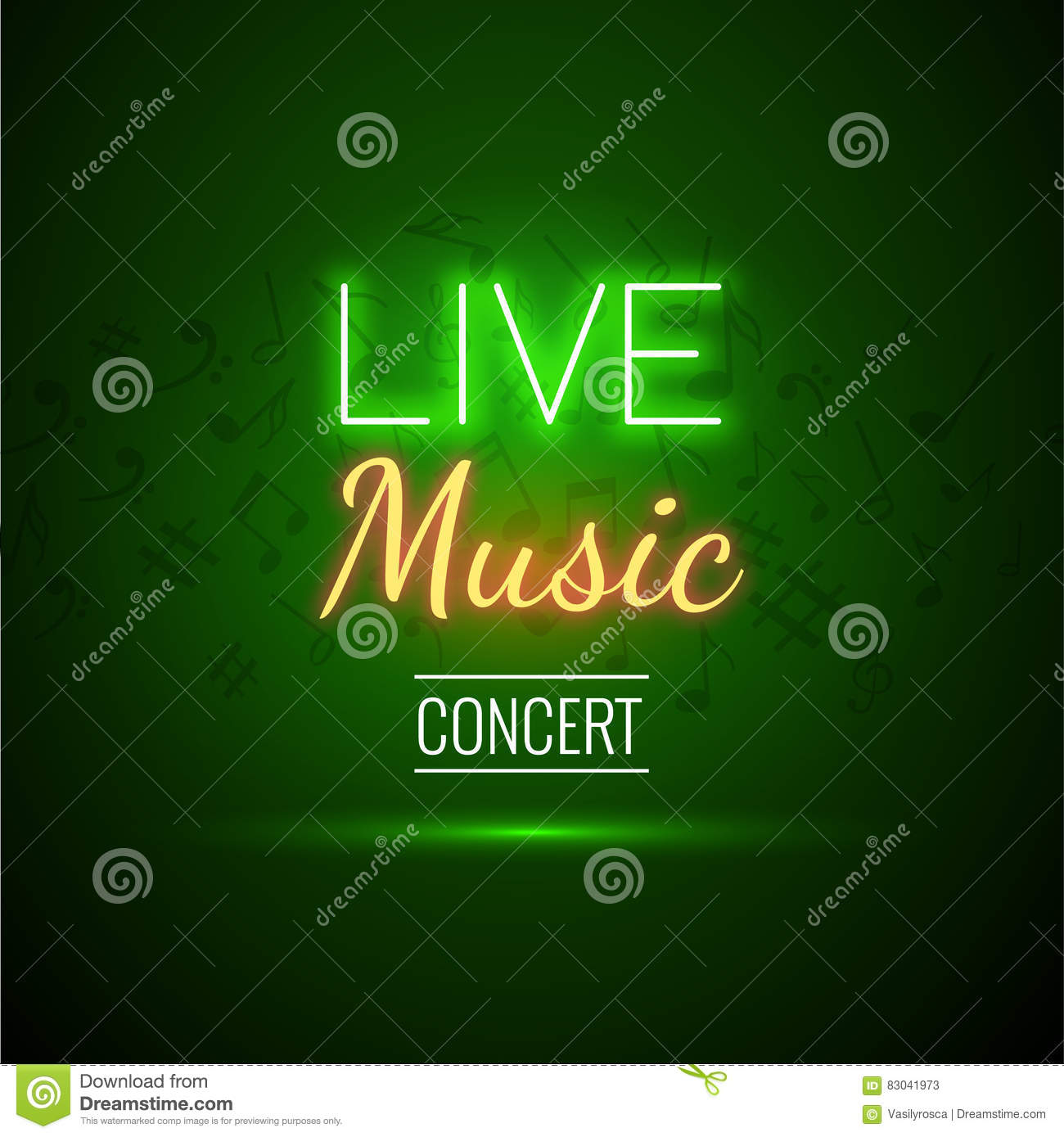 Neon Live Music Concert Acoustic Party Poster Background Template With Text Sign Spotlight And Stage Stock Vector Illustration Of Lamp Dance 83041973