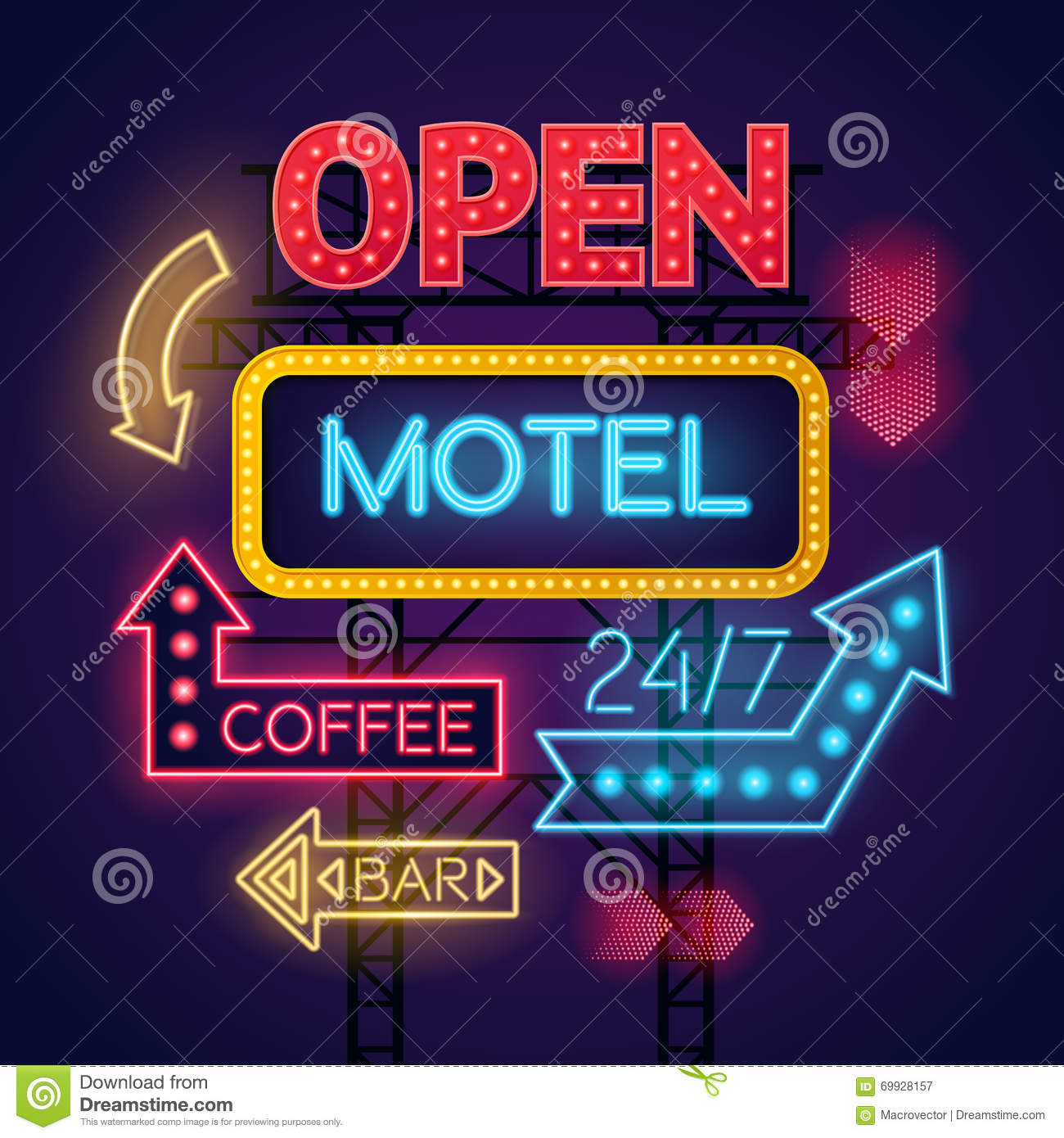 Neon Motel Cafe And Bar Signs Set Stock Vector