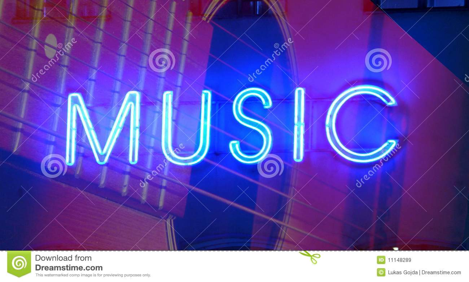 Neon music sign stock image  Image of closeup, shop, blue