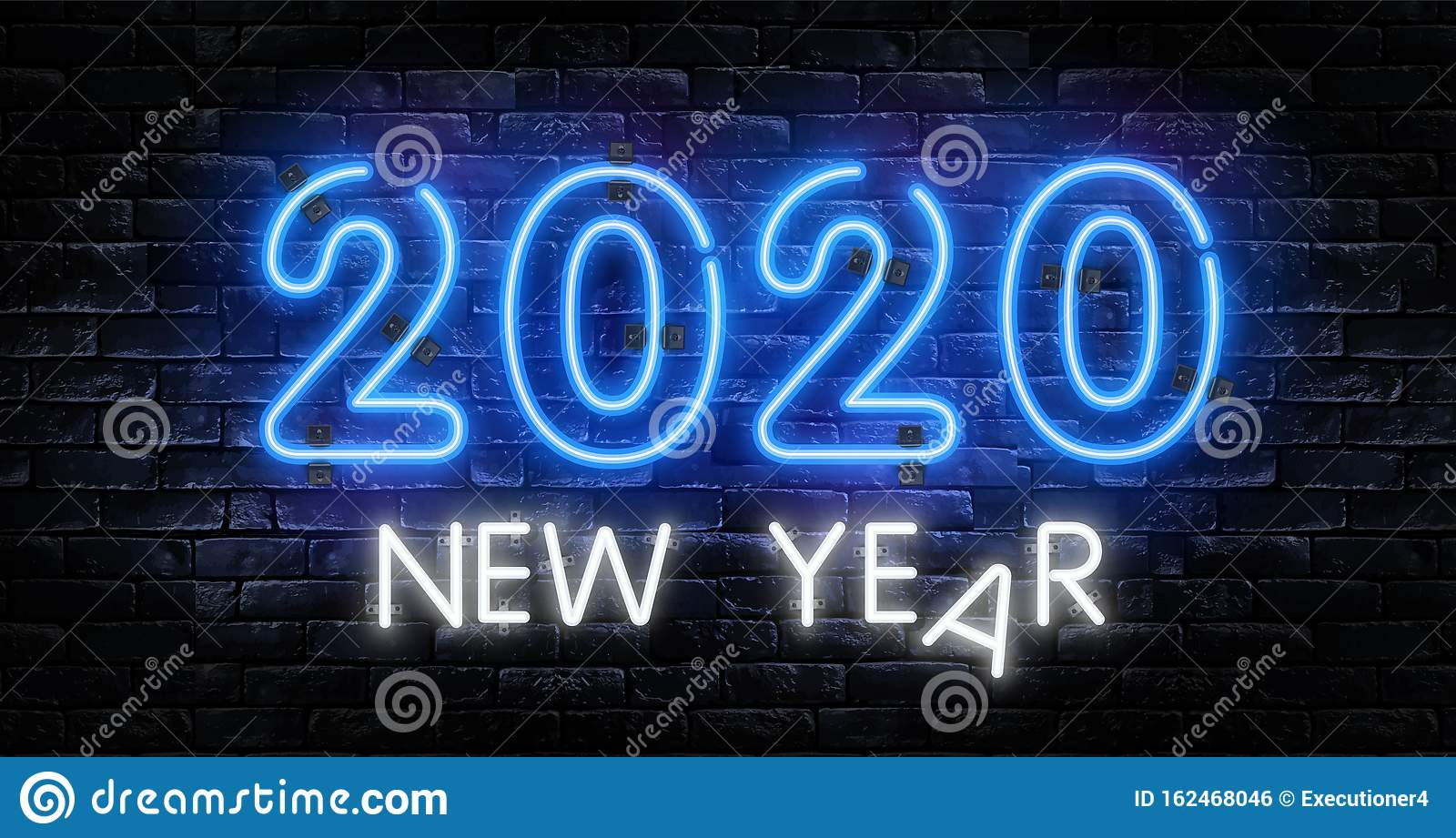 Neon 2020 New Year Signs Isolated On Brick Wall. New Year ...
