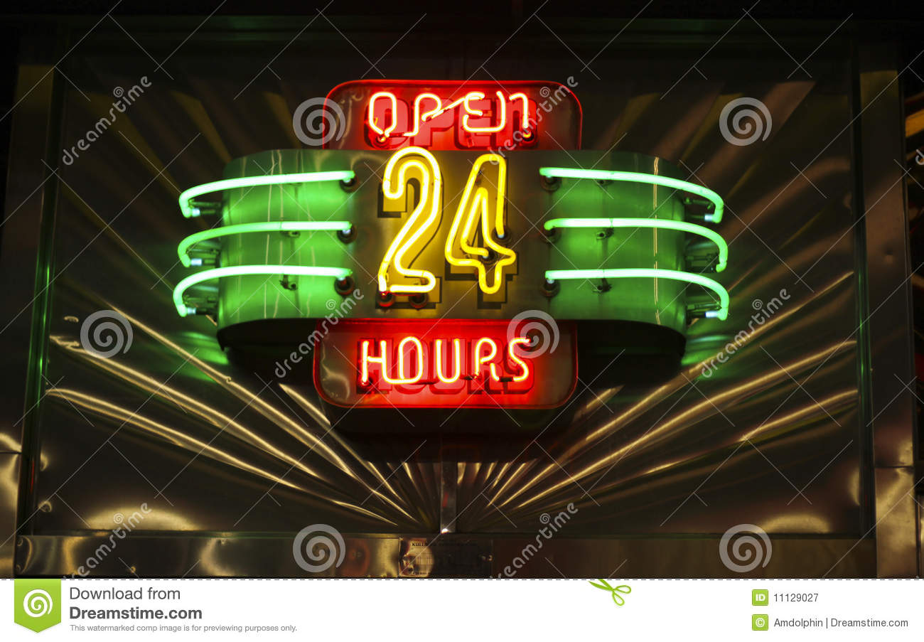 Neon Open 24 Hours Sign Royalty Free Stock Photography