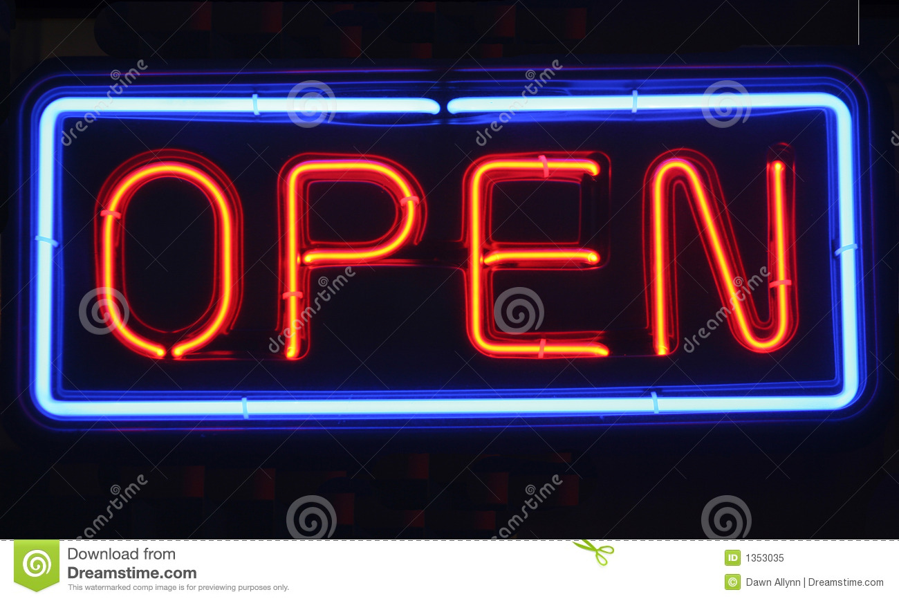 Open Photho : Neon Open Sign Royalty Free Stock Photo - Image: 1353035