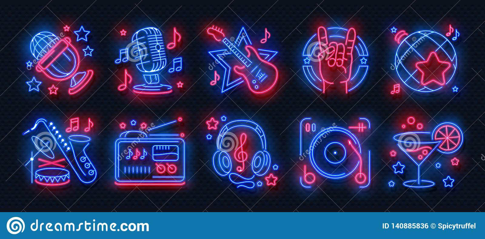 Neon party icons. Dance music karaoke light signs, glowing concert banner, rock bar disco poster. Vector retro night