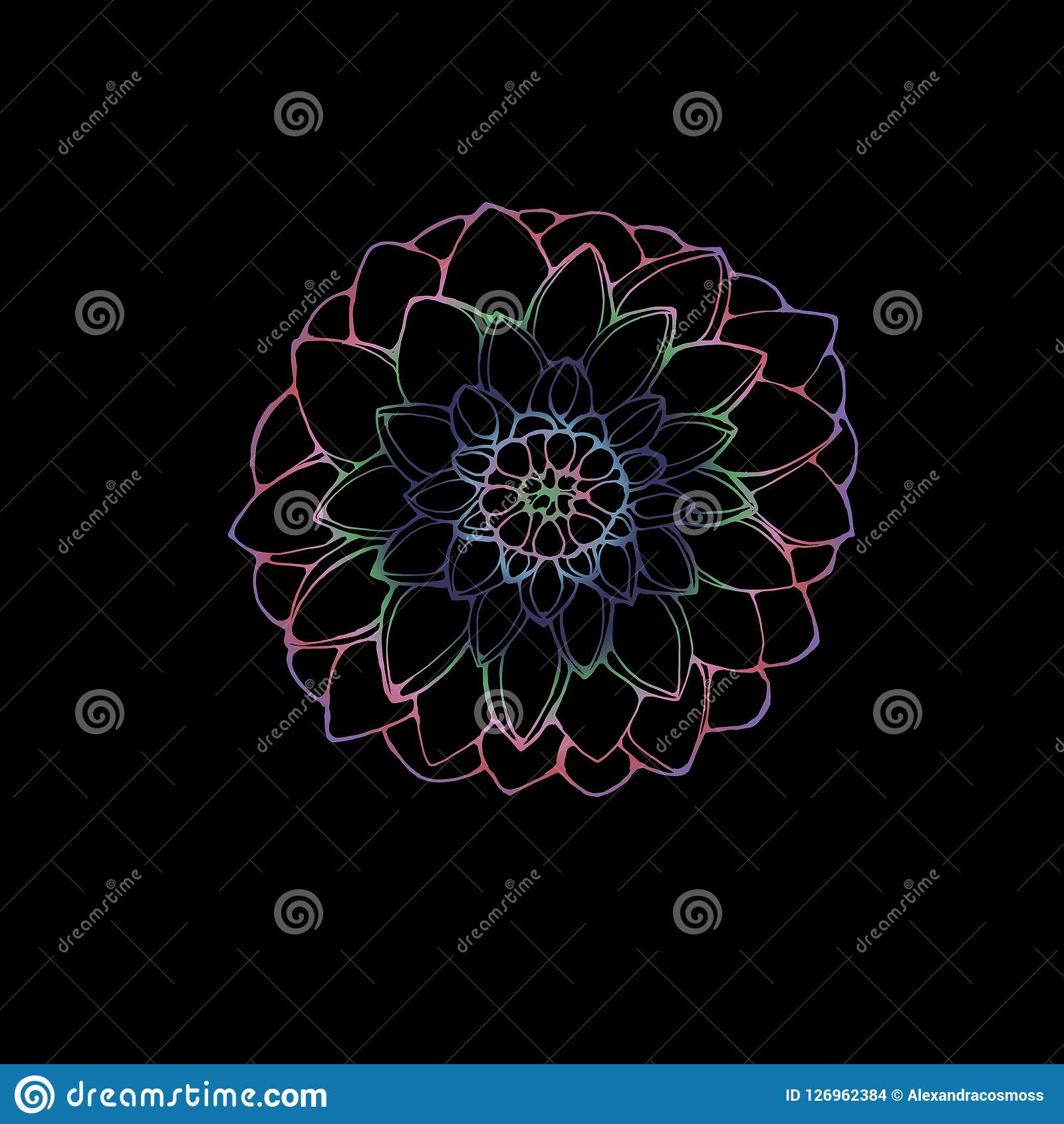Neon Picture Of A Dahlia Flower The Idea For A Tattoo Stock Vector