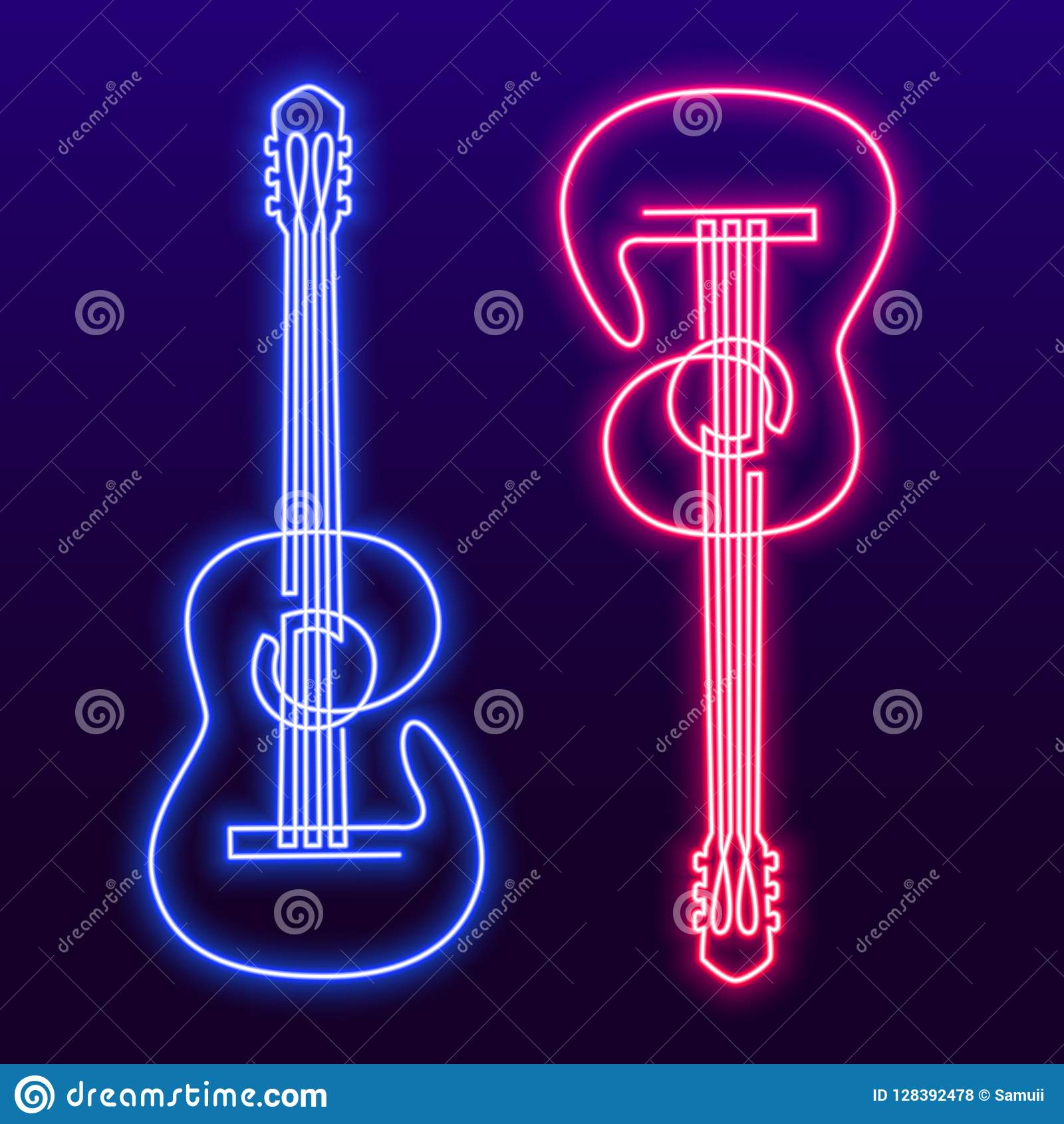 Neon Pink Blue Light Lamp Continuous Line Drawing Of Acoustic Guitar