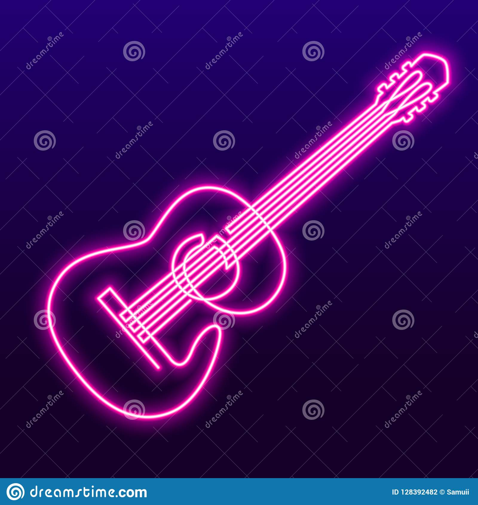 Neon Pink Light Lamp Continuous Line Drawing Of Acoustic Guitar