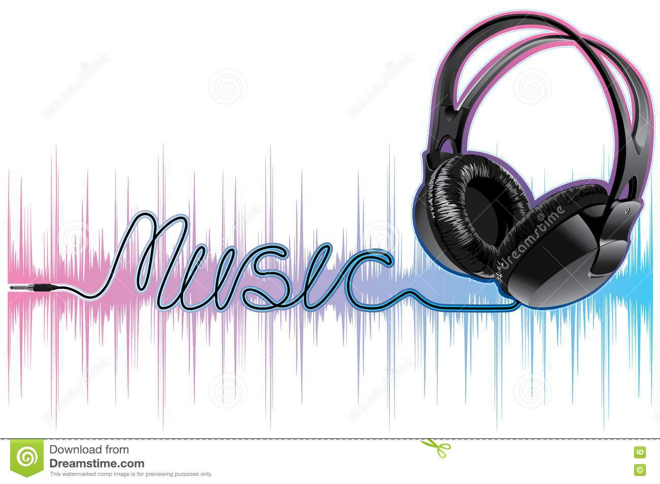 Neon Pulsing Music Headphones Stock Vector - Image: 16944764