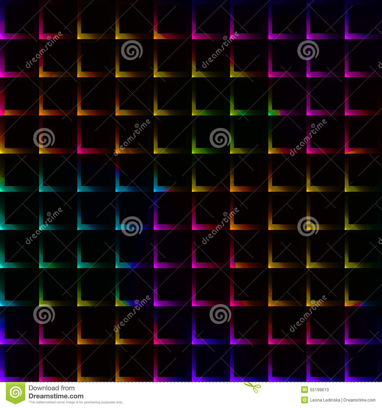 Neon Rainbow Bright Color Grid With Thorns - Seamless