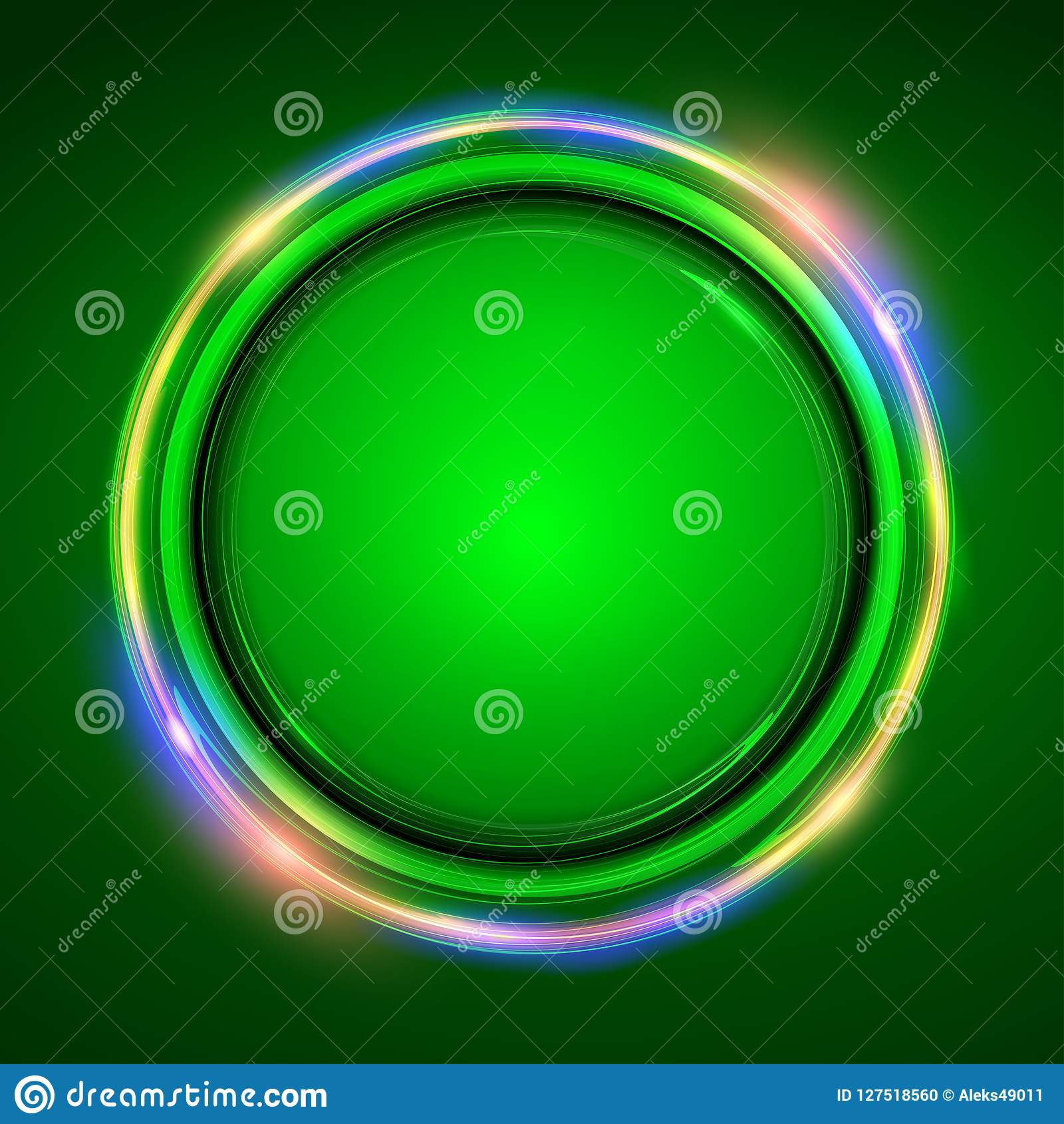 Neon Round Frame  Abstract Background With Led Light Effect Stock