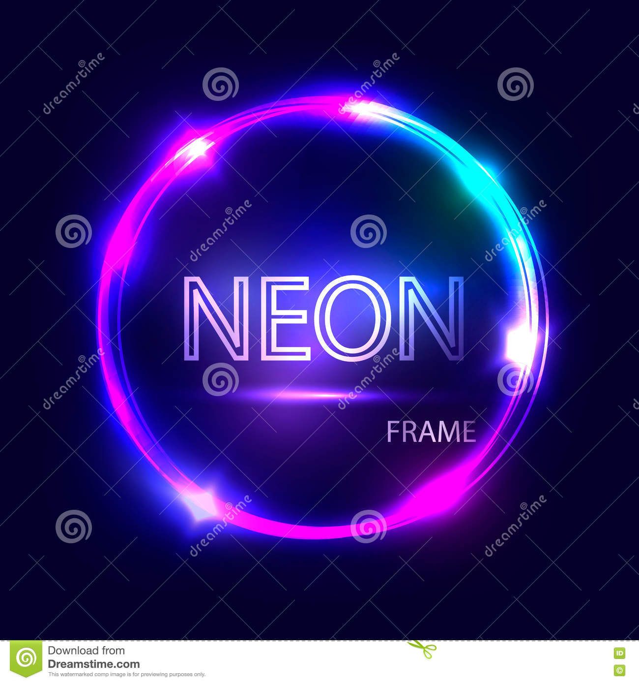 Neon round glowing frame. Electric circle on dark background. Light banner with glow.